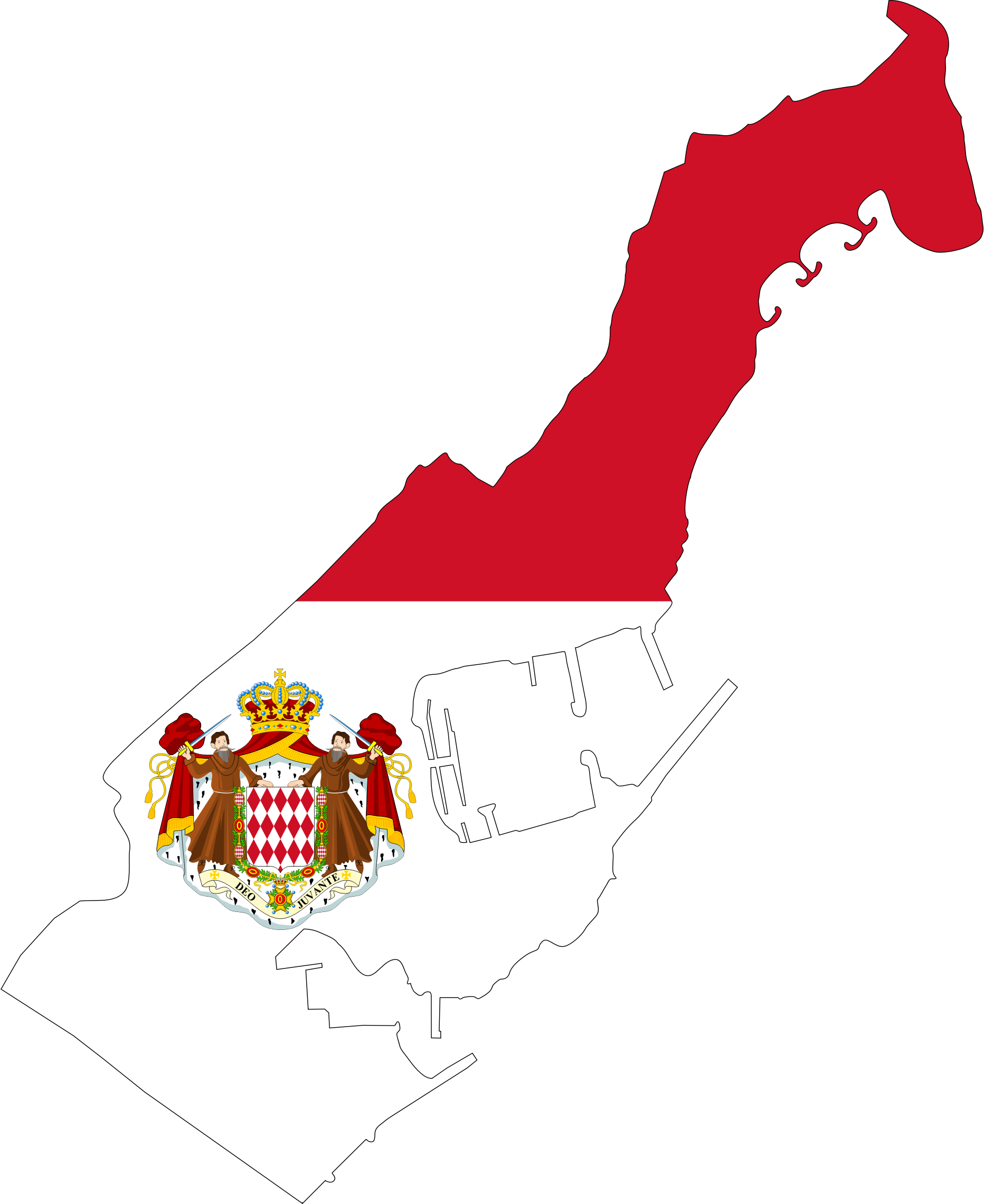 Monaco Map Flag With Coat Of Arms by GDJ