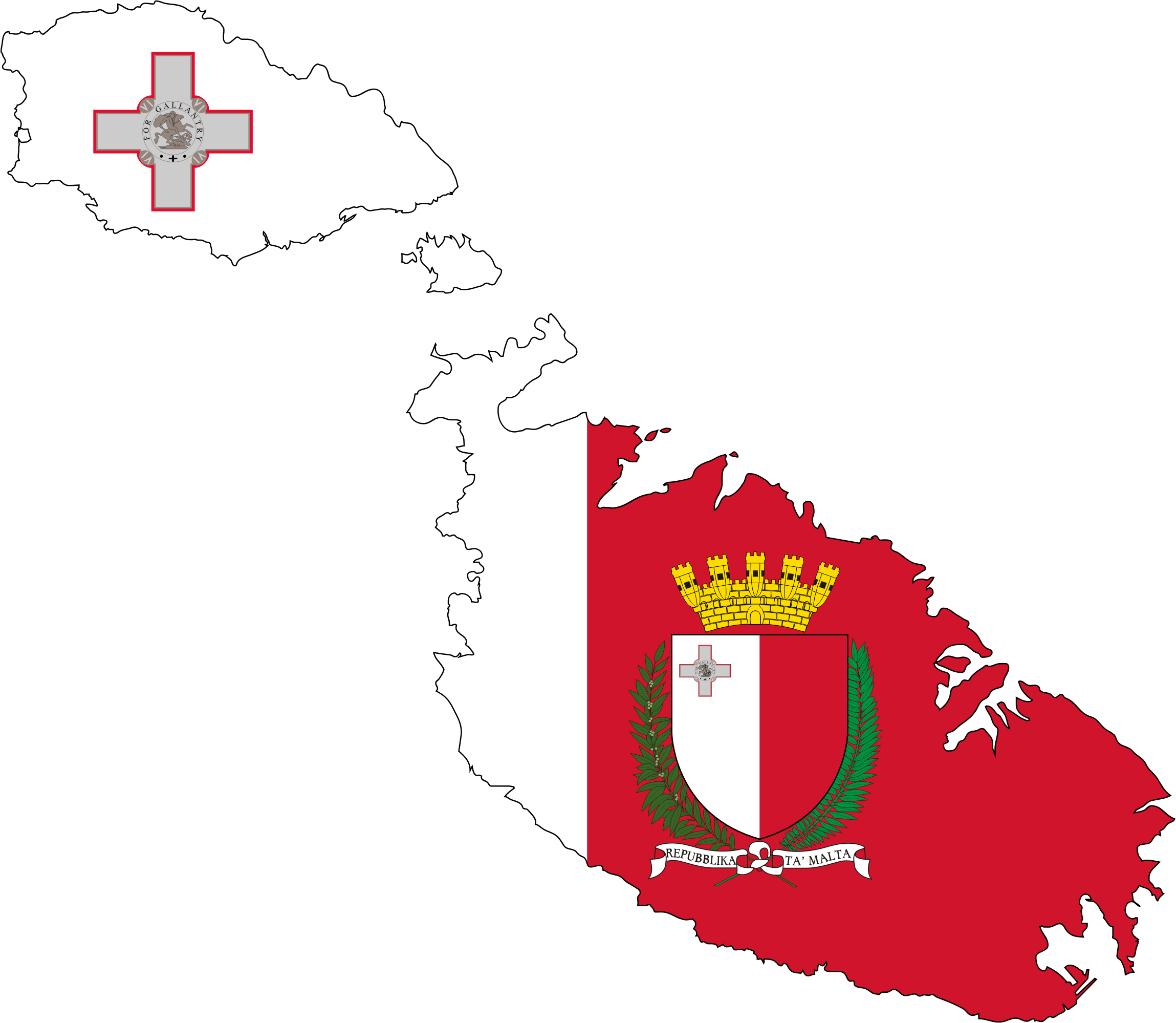 Malta Map Flag With Coat Of Arms by GDJ
