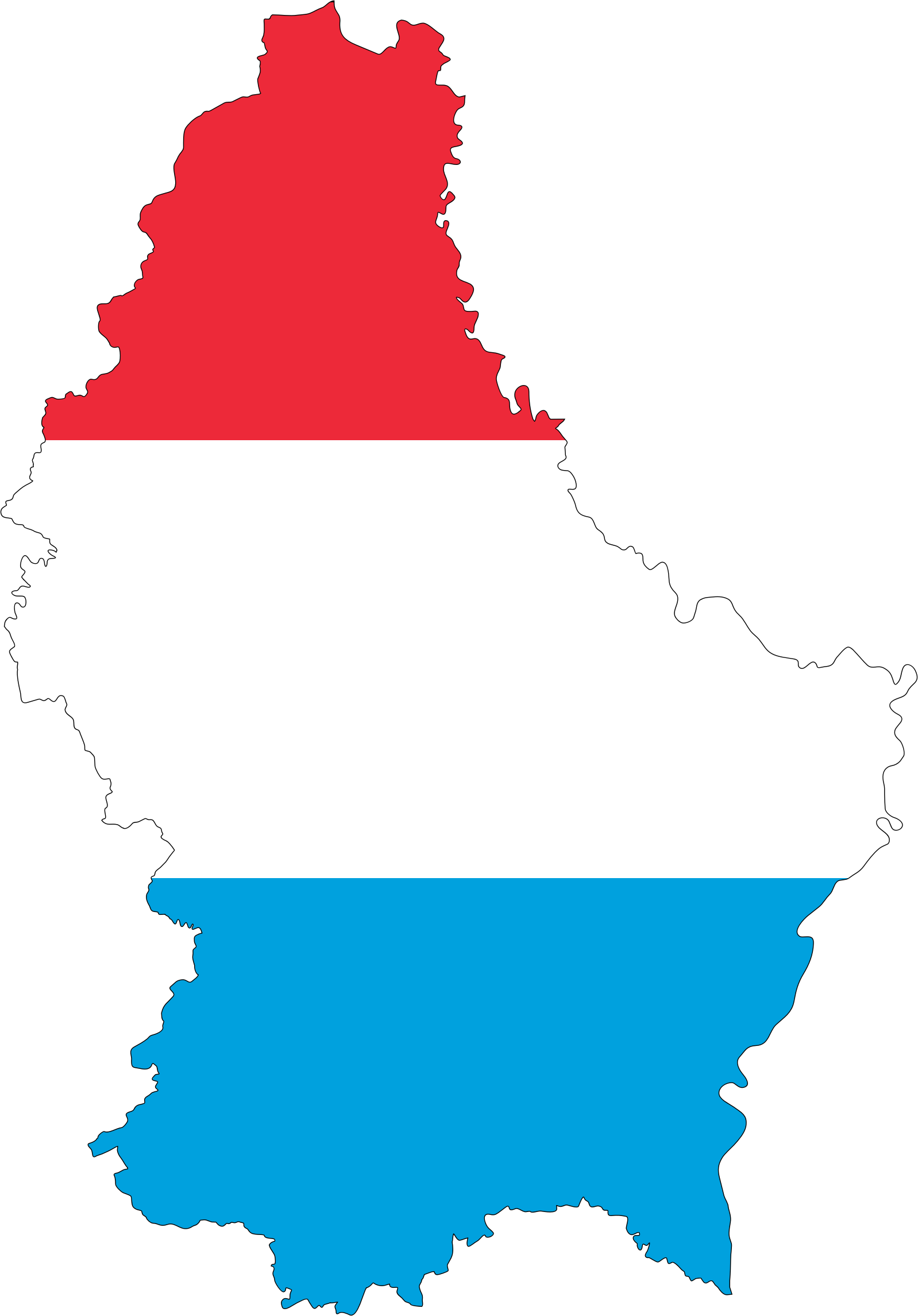 Luxembourg Map Flag With Stroke by GDJ