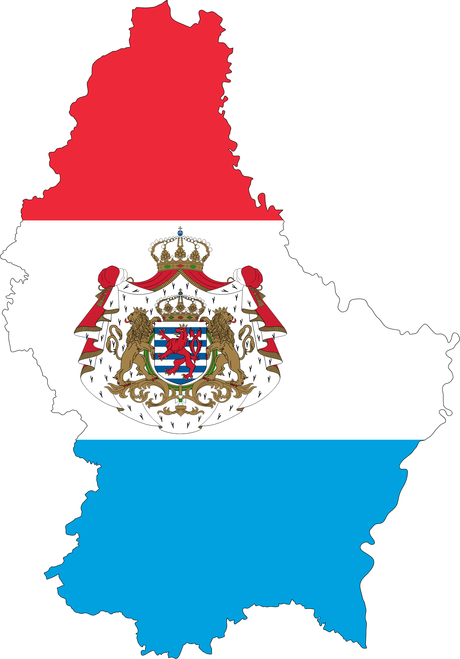 Luxembourg Map Flag With Stroke And Coat Of Arms by GDJ