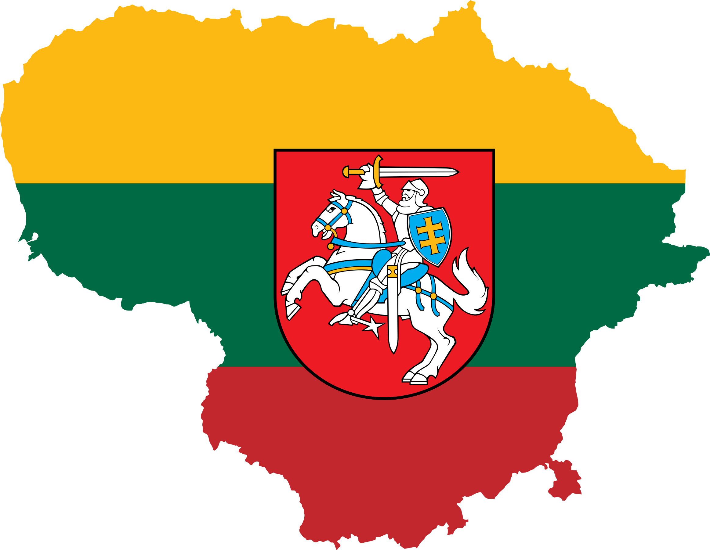 Lithuania Map Flag With Coat Of Arms by GDJ