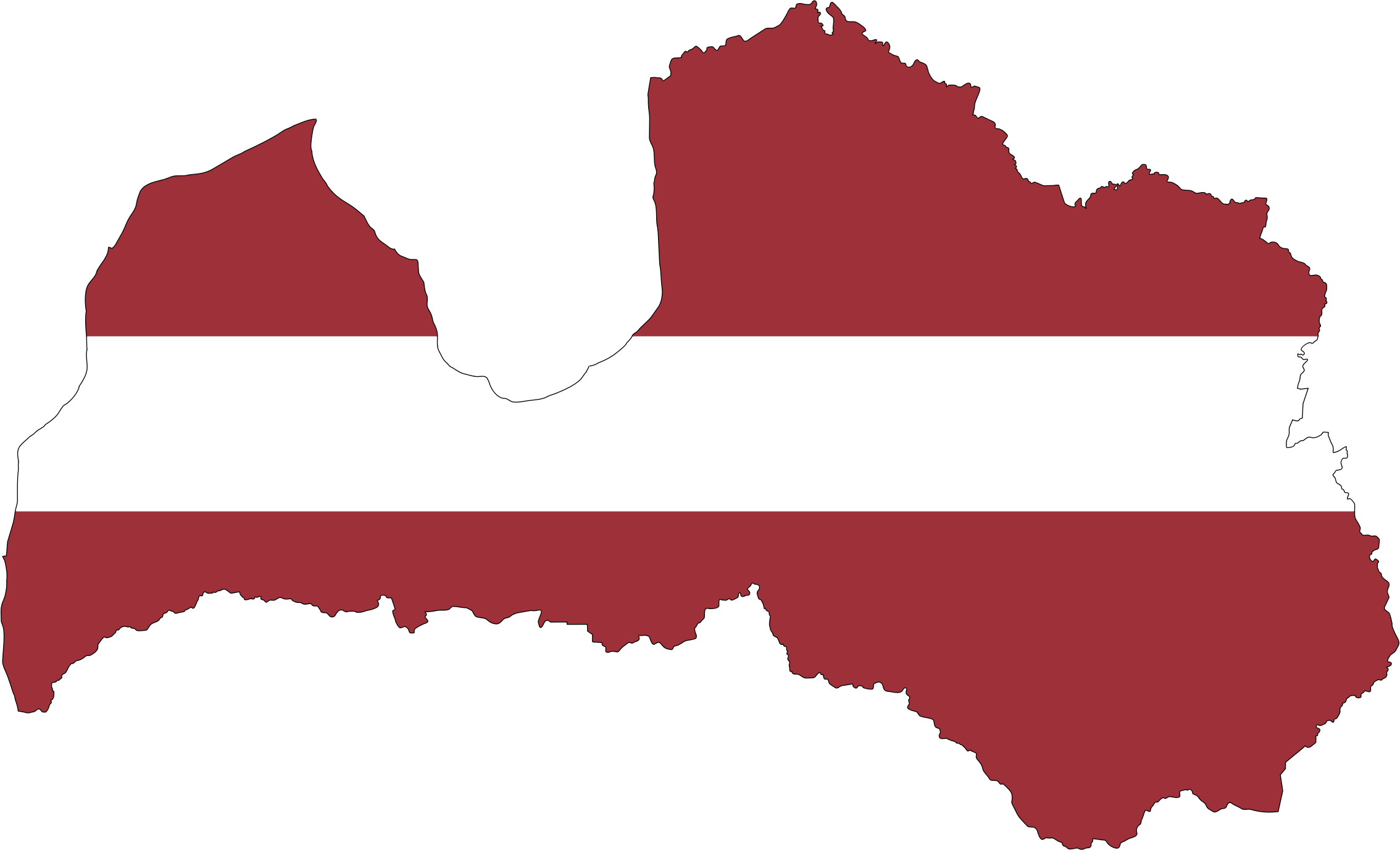 Latvia Map Flag With Stroke by GDJ