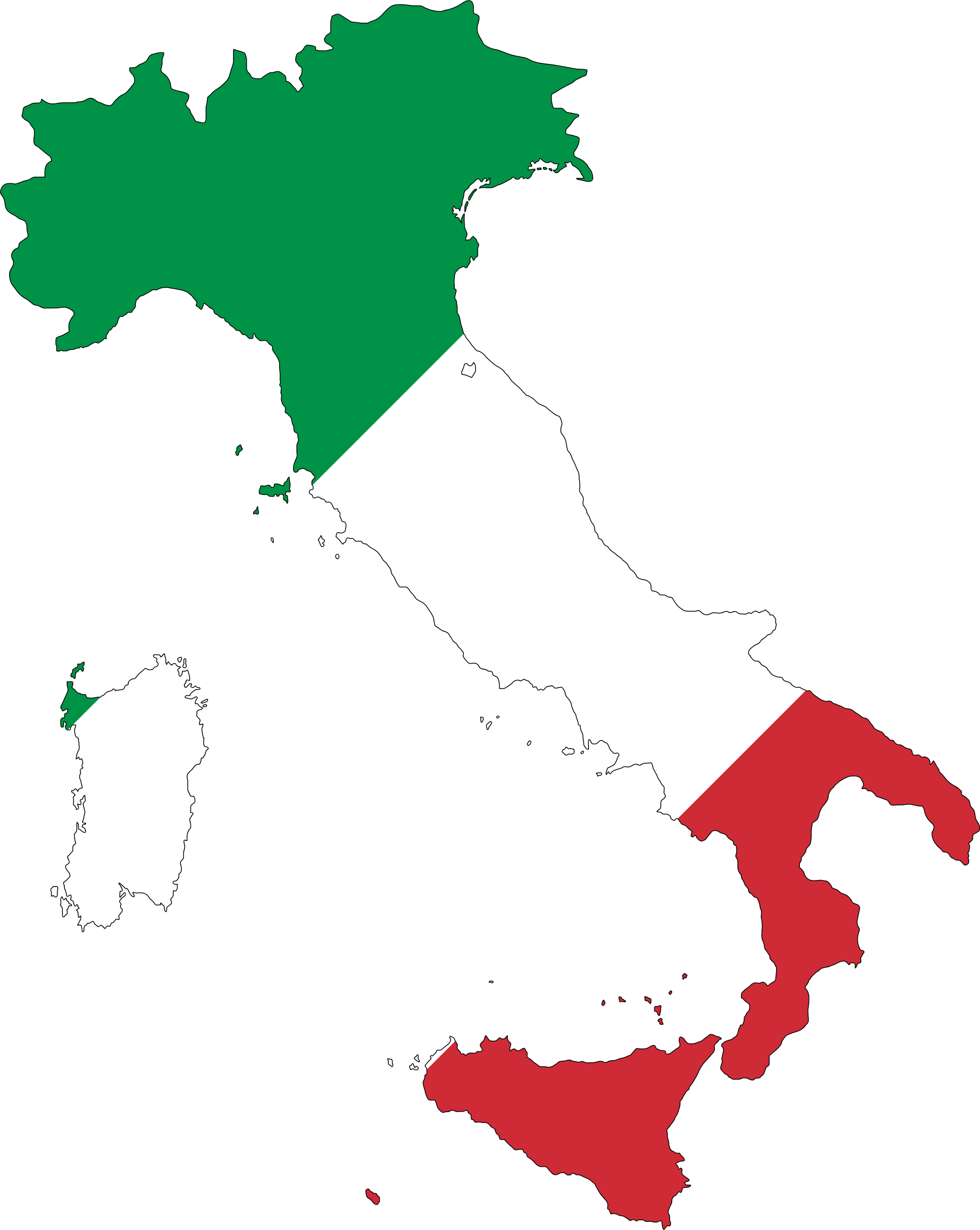Italy Map Flag With Stroke by GDJ