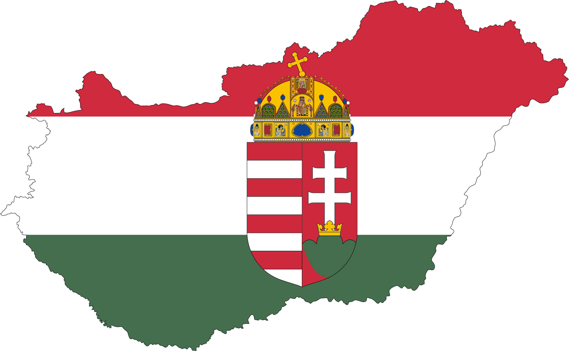 Hungary Map Flag With Stroke And Coat Of Arms by GDJ