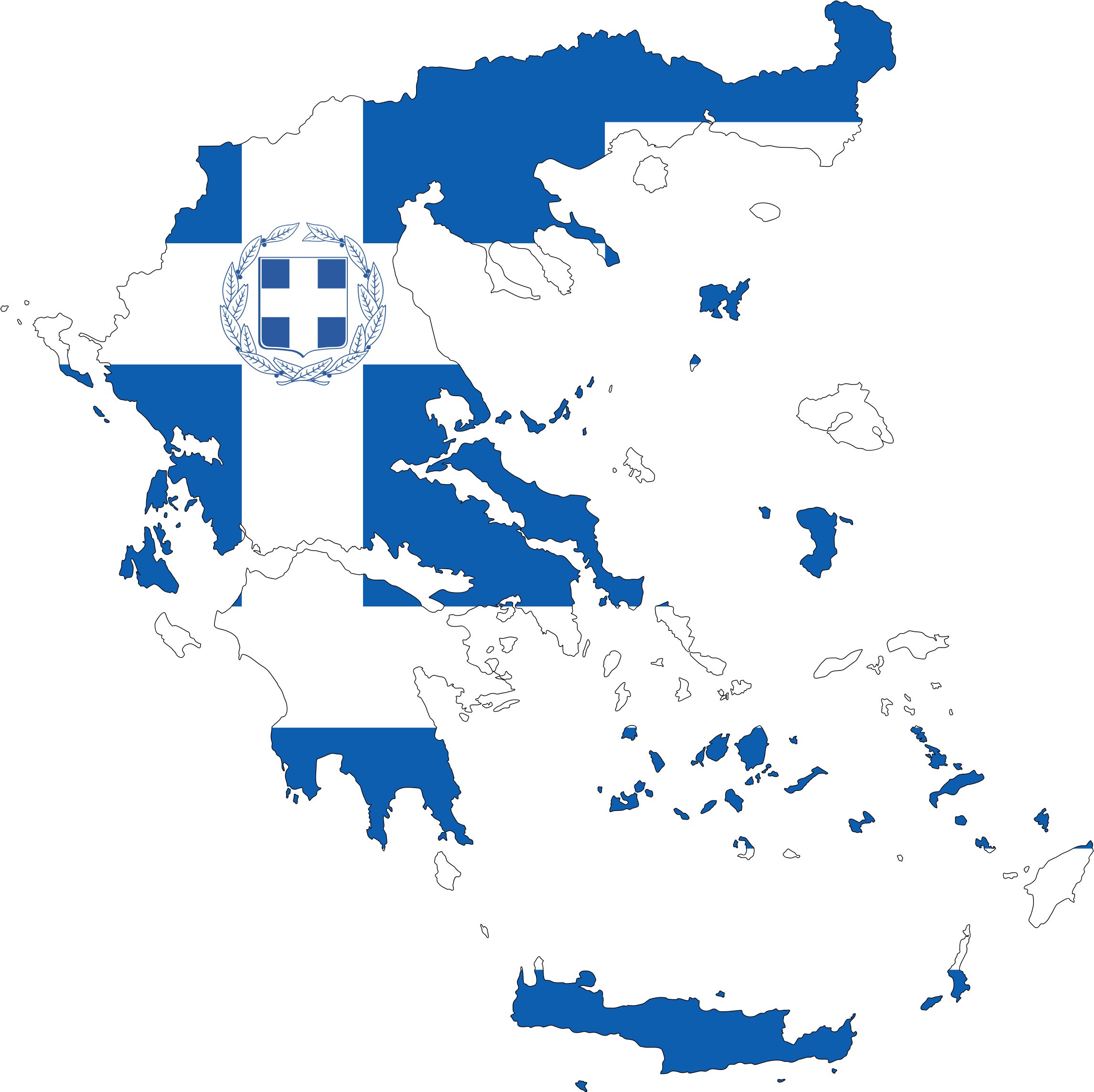 Greece Map Flag With Stroke And Coat Of Arms by GDJ