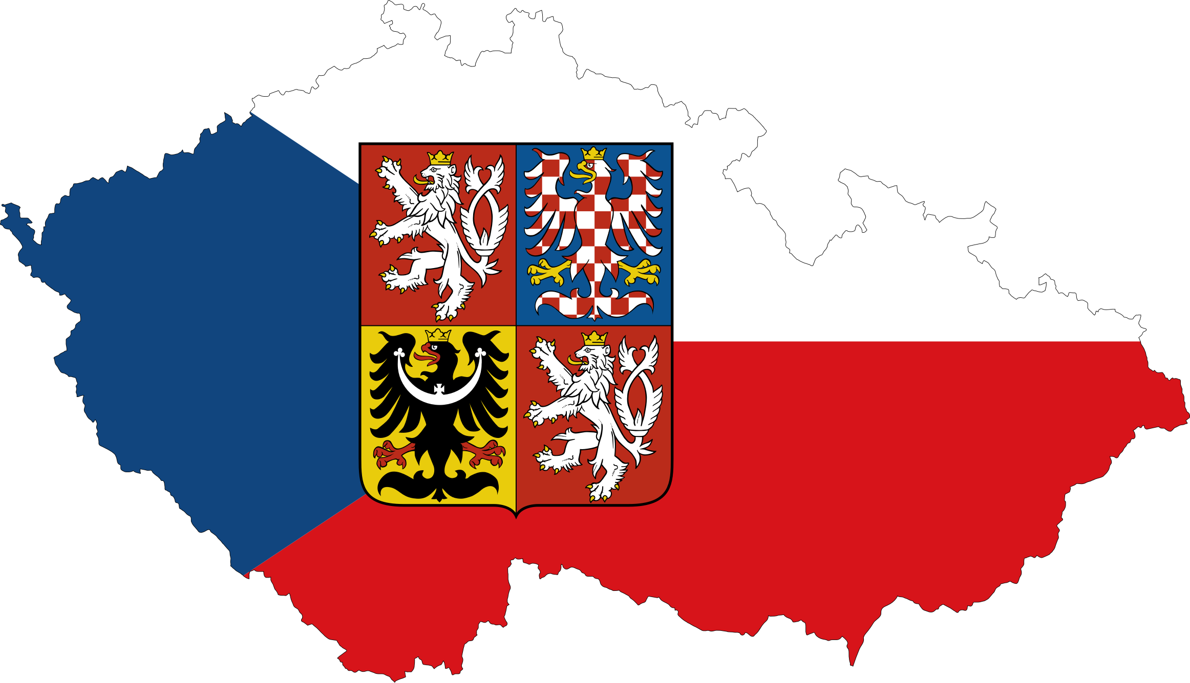 Czech Republic Map Flag With Stroke And Coat Of Arms by GDJ