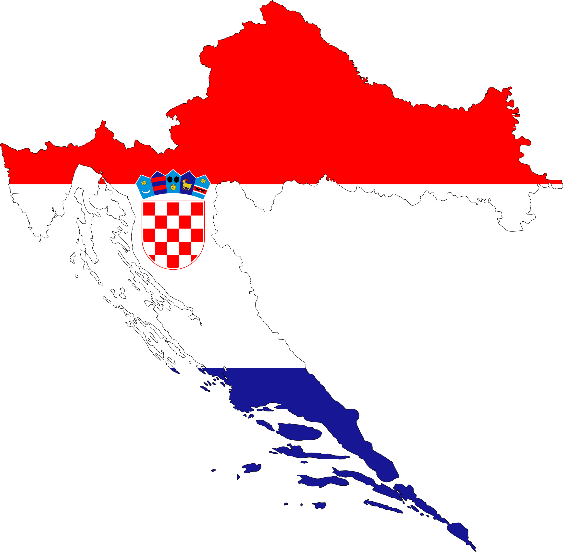 Croatia Map Flag With Stroke by GDJ