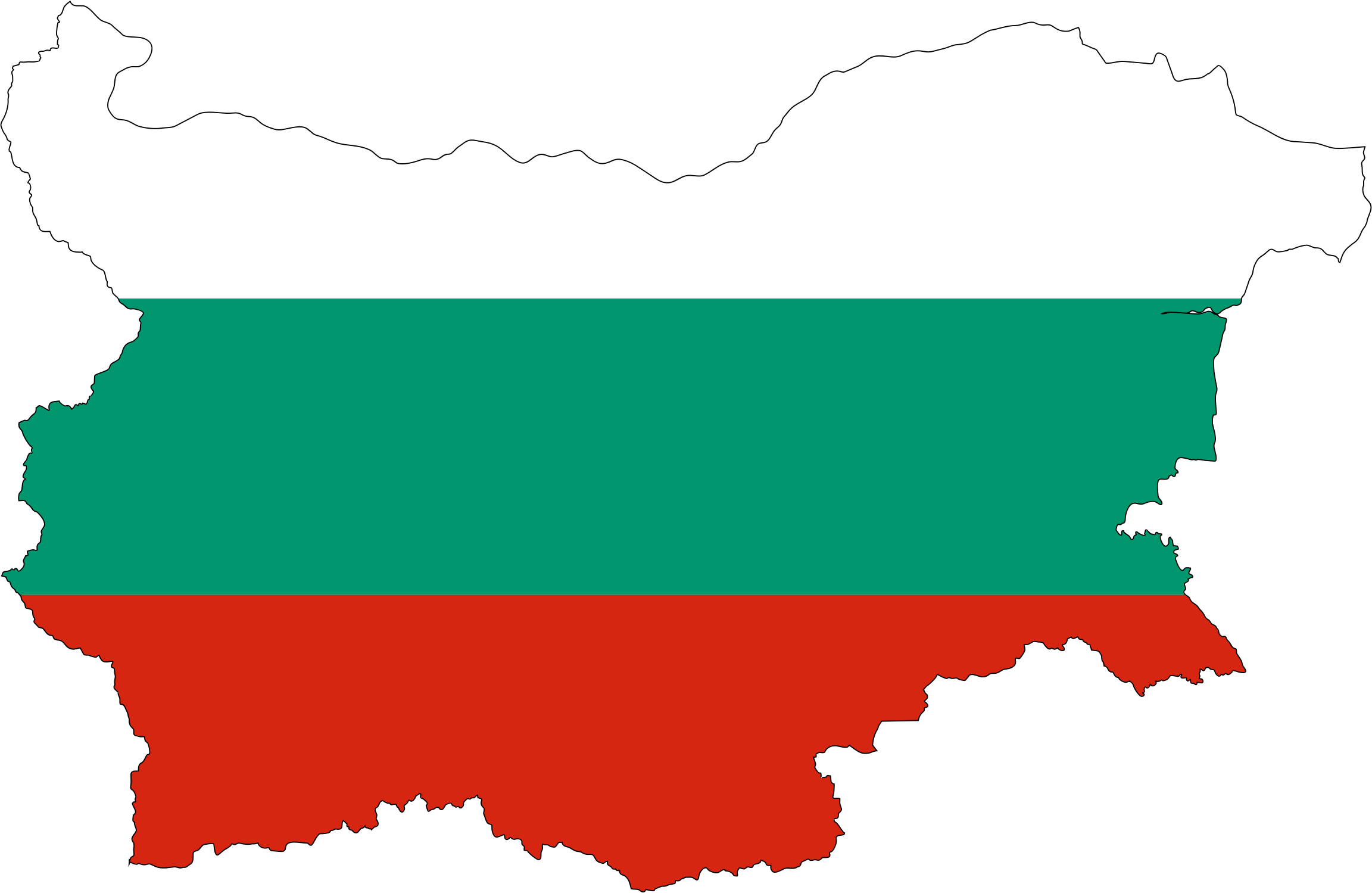 Bulgaria Map Flag With Stroke by GDJ