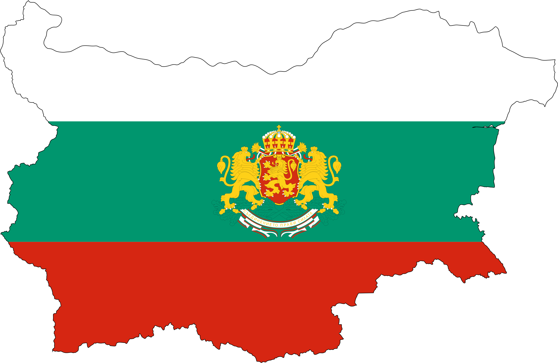 Bulgaria Map Flag With Stroke And Coat Of Arms by GDJ