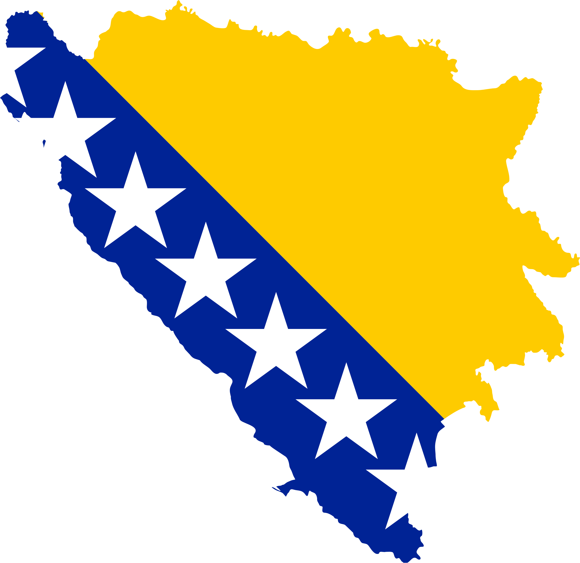 Bosnia And Herzegovina Map Flag by GDJ