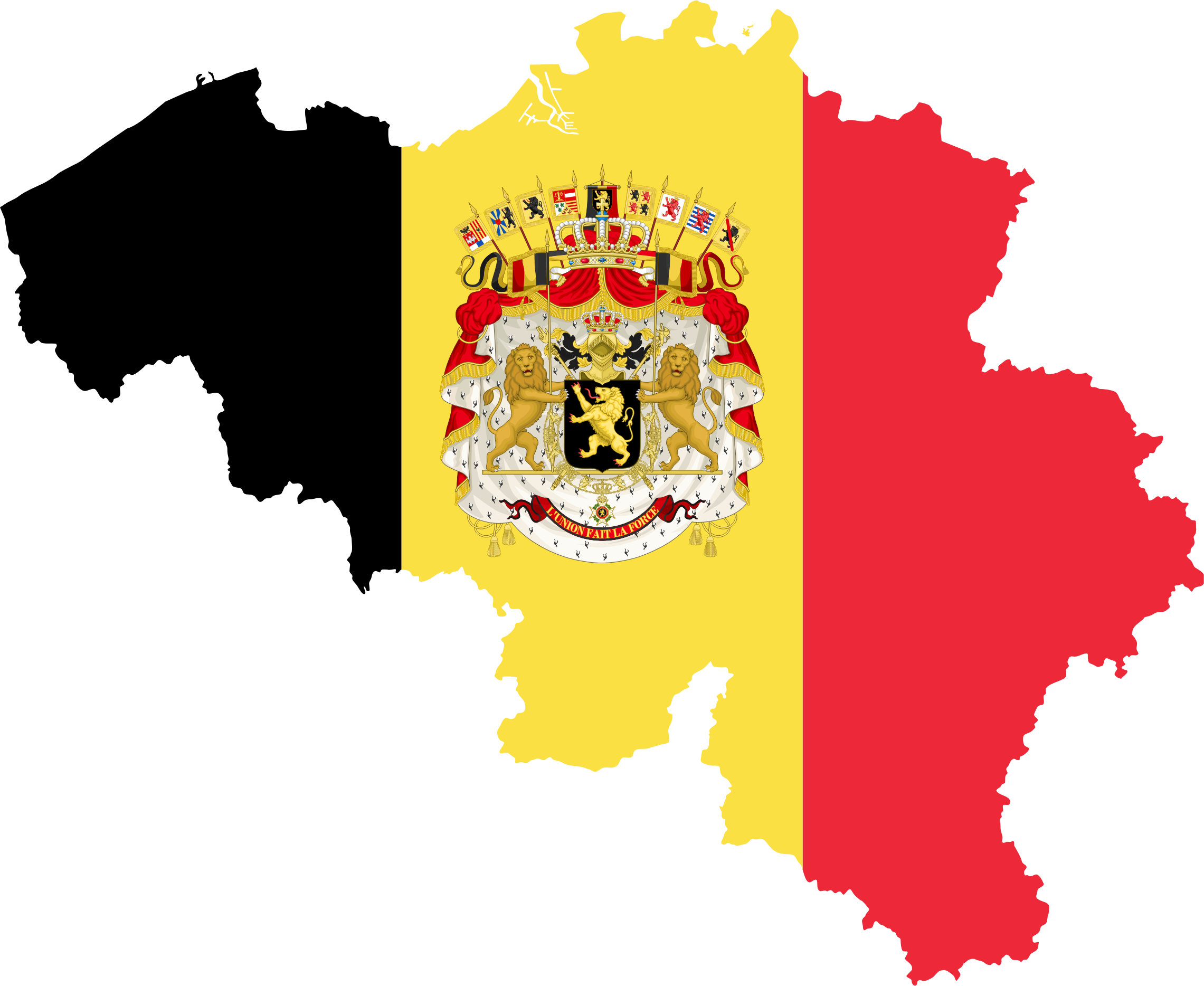 Belgium Map Flag With Coat Of Arms by GDJ