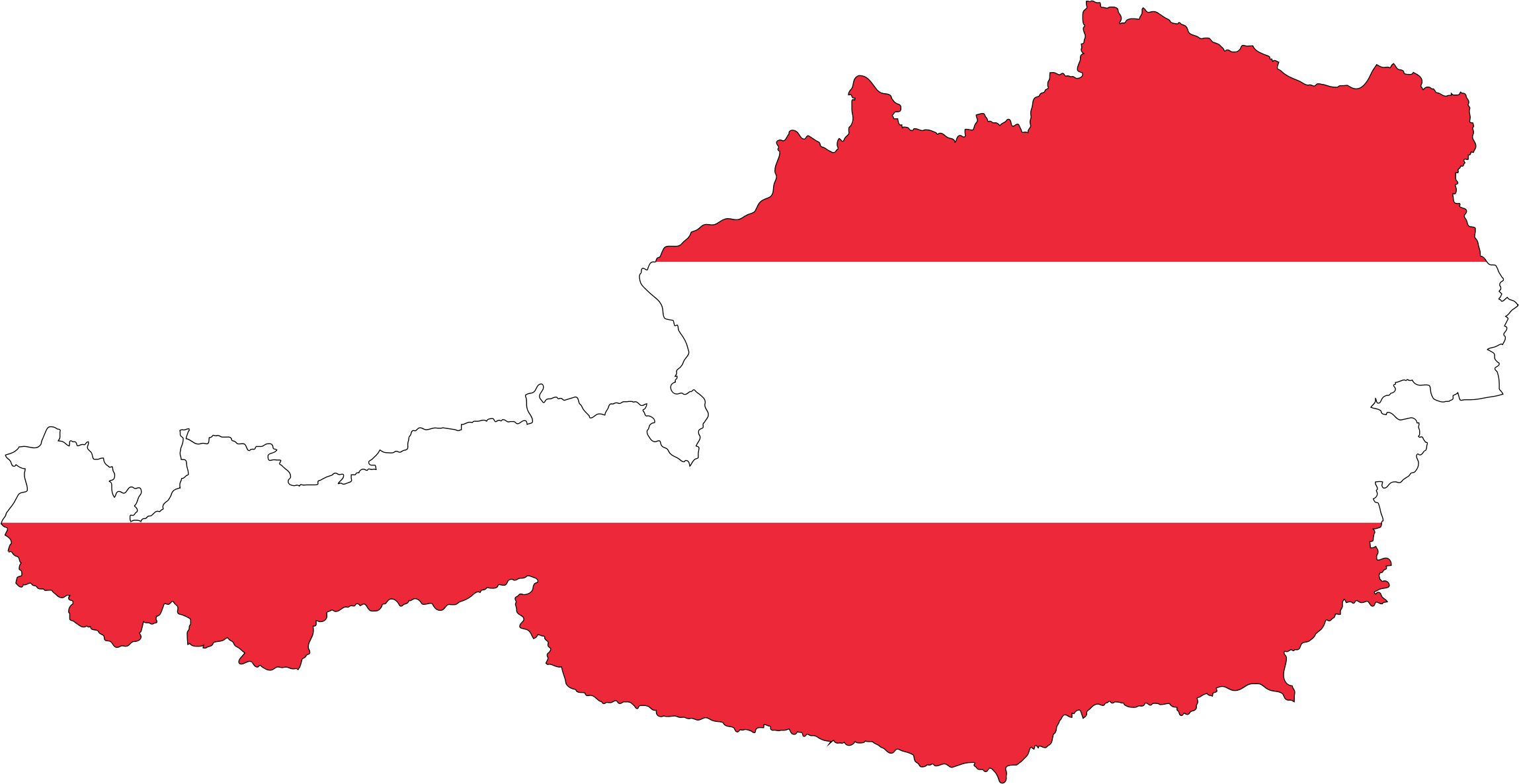 Austria Map Flag With Stroke by GDJ