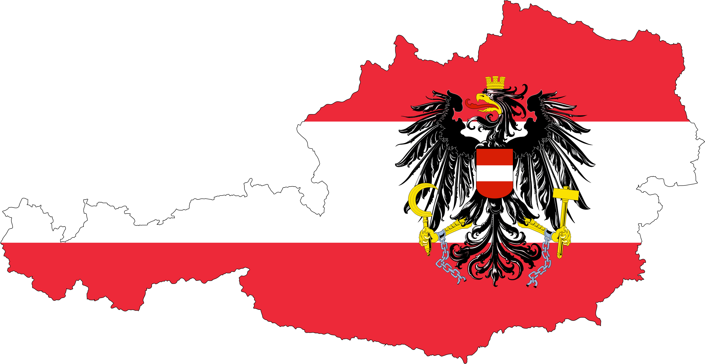 Austria Map Flag With Stroke And Coat Of Arms by GDJ