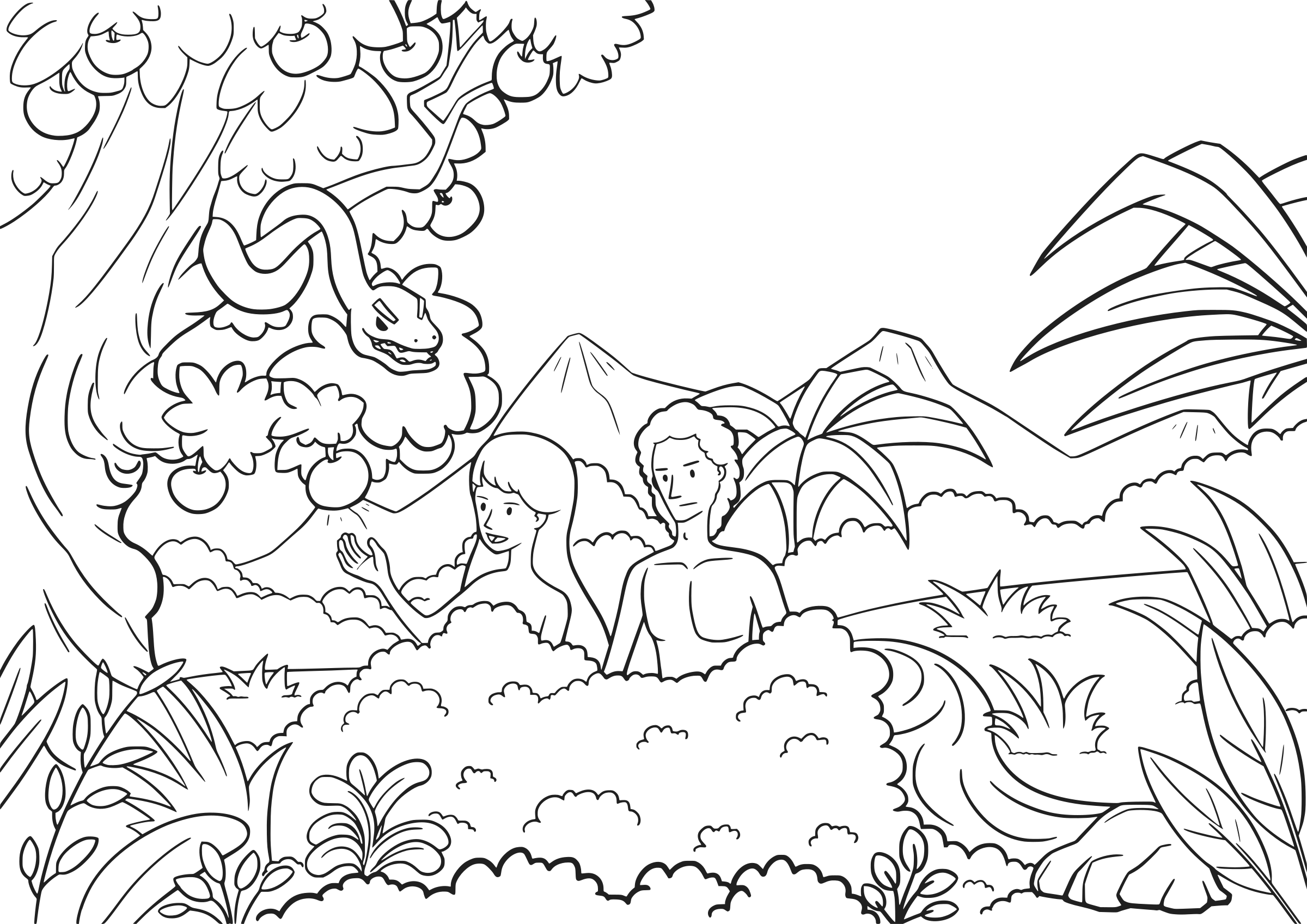 Clipart genesis 3 1 15 01 for Garden of eden coloring page