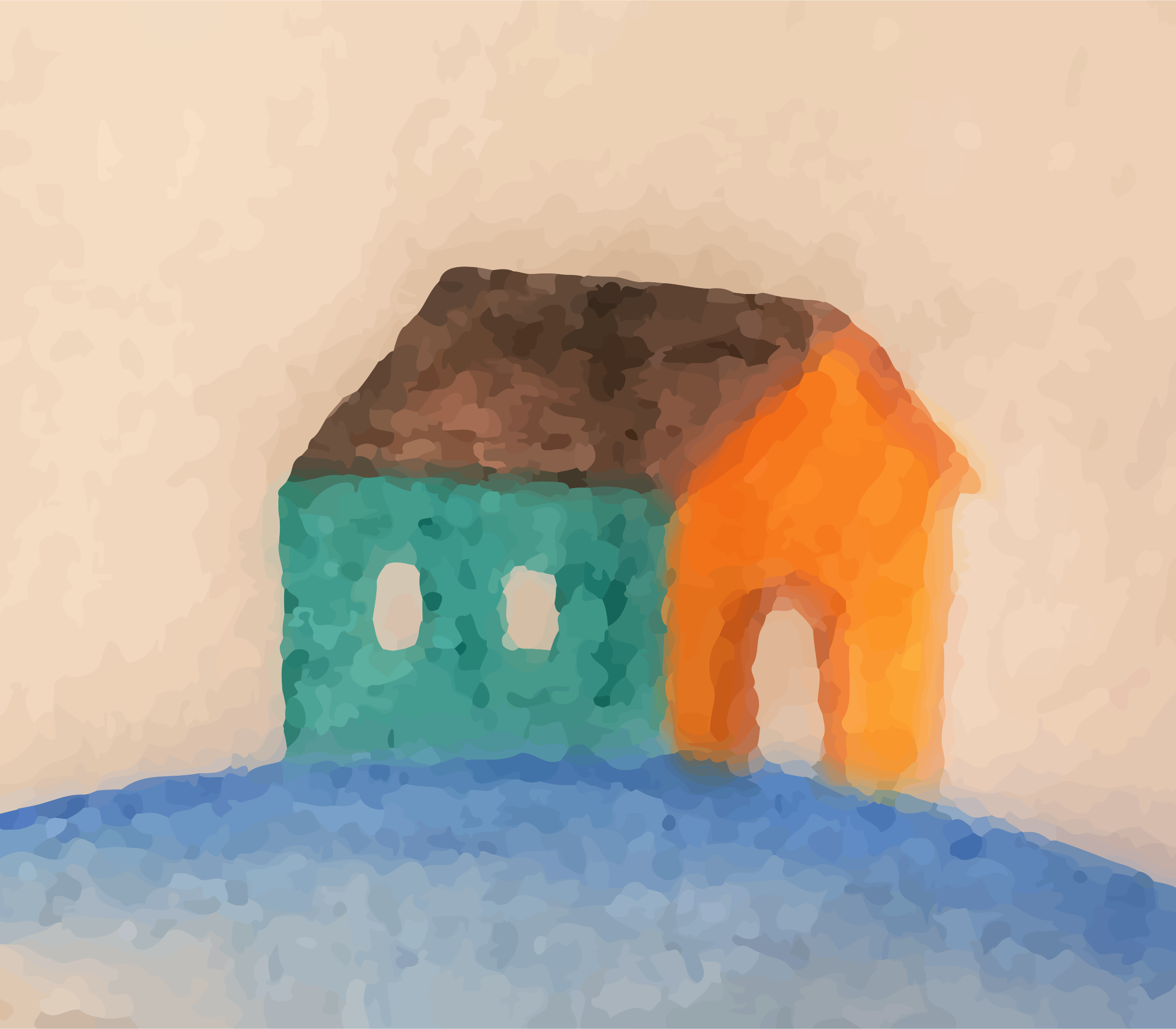 Small home righted (oil painting look) by Firkin