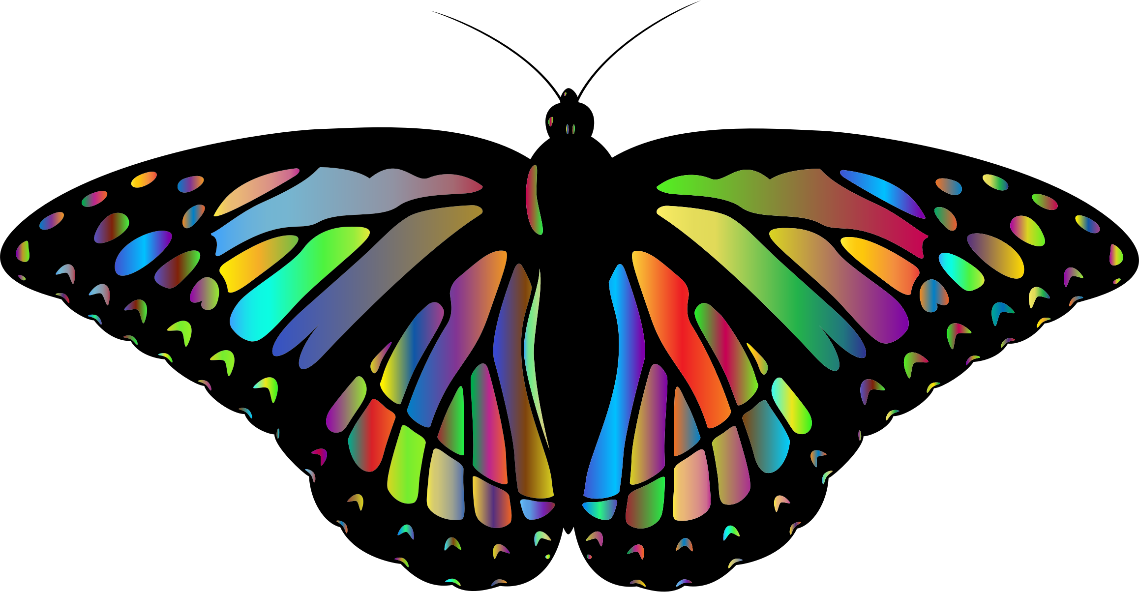 Clipart - Prismatic Monarch Butterfly II