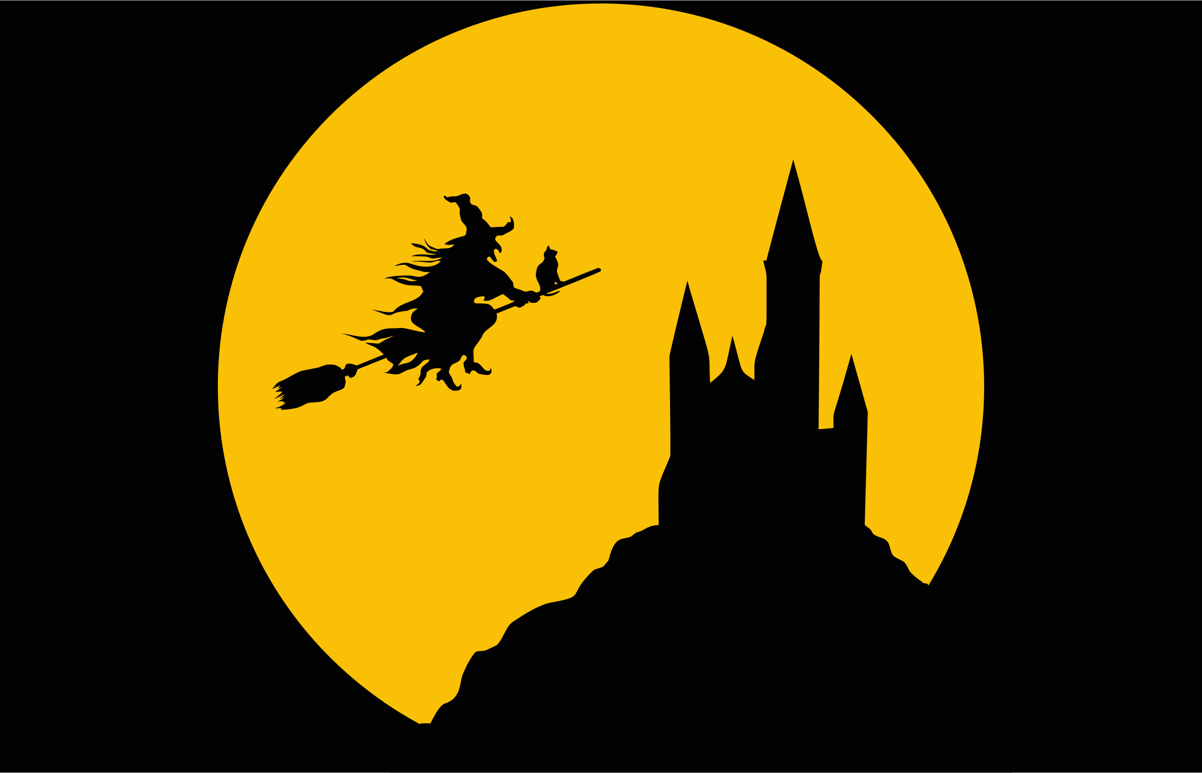 Witch Flying In Full Moon Silhouette by GDJ