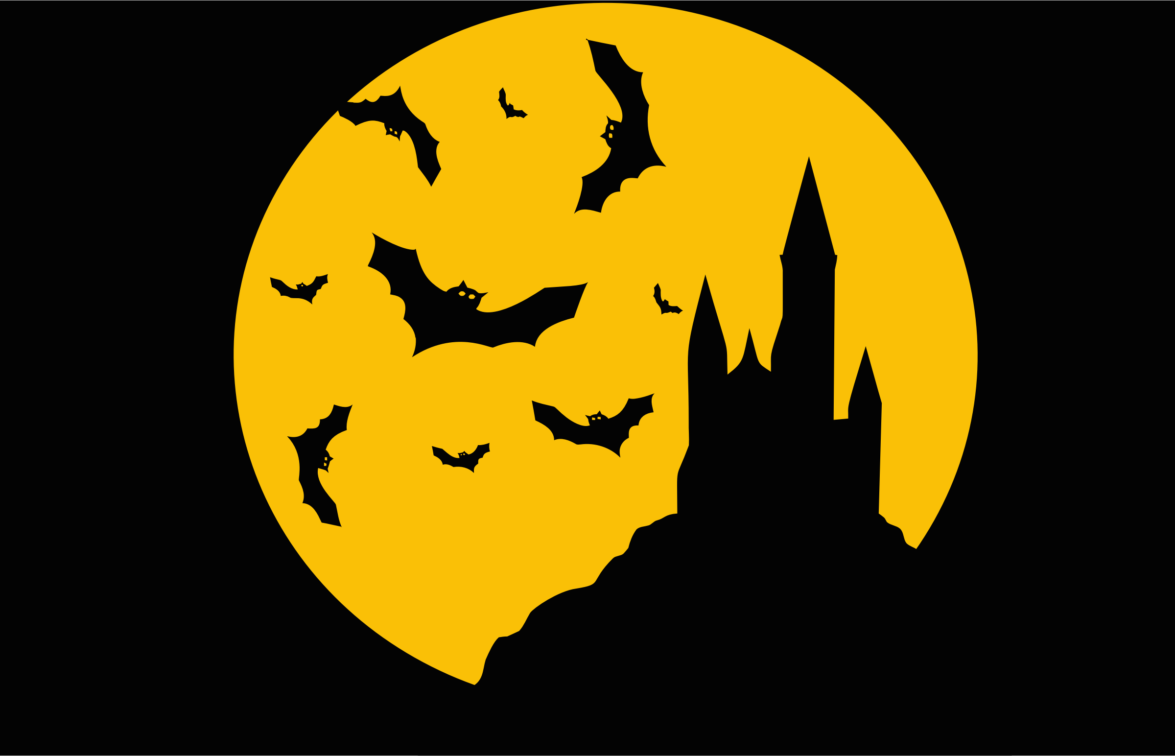 Clipart - Castle Bats Silhouette