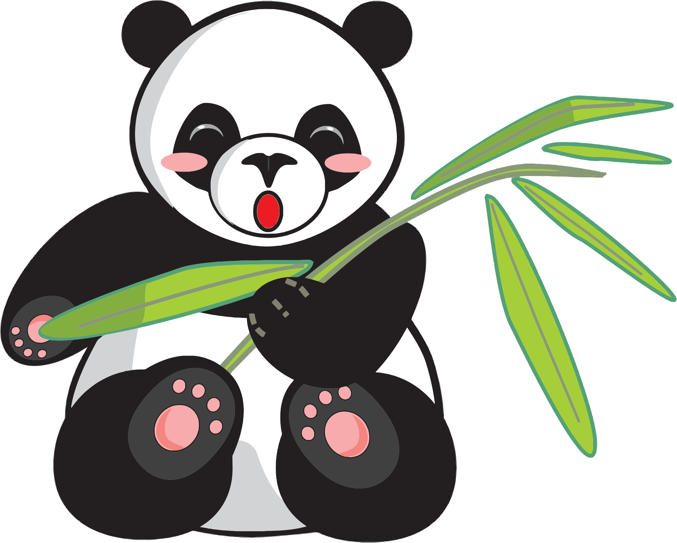 Clipart Cartoon Panda And Bamboo