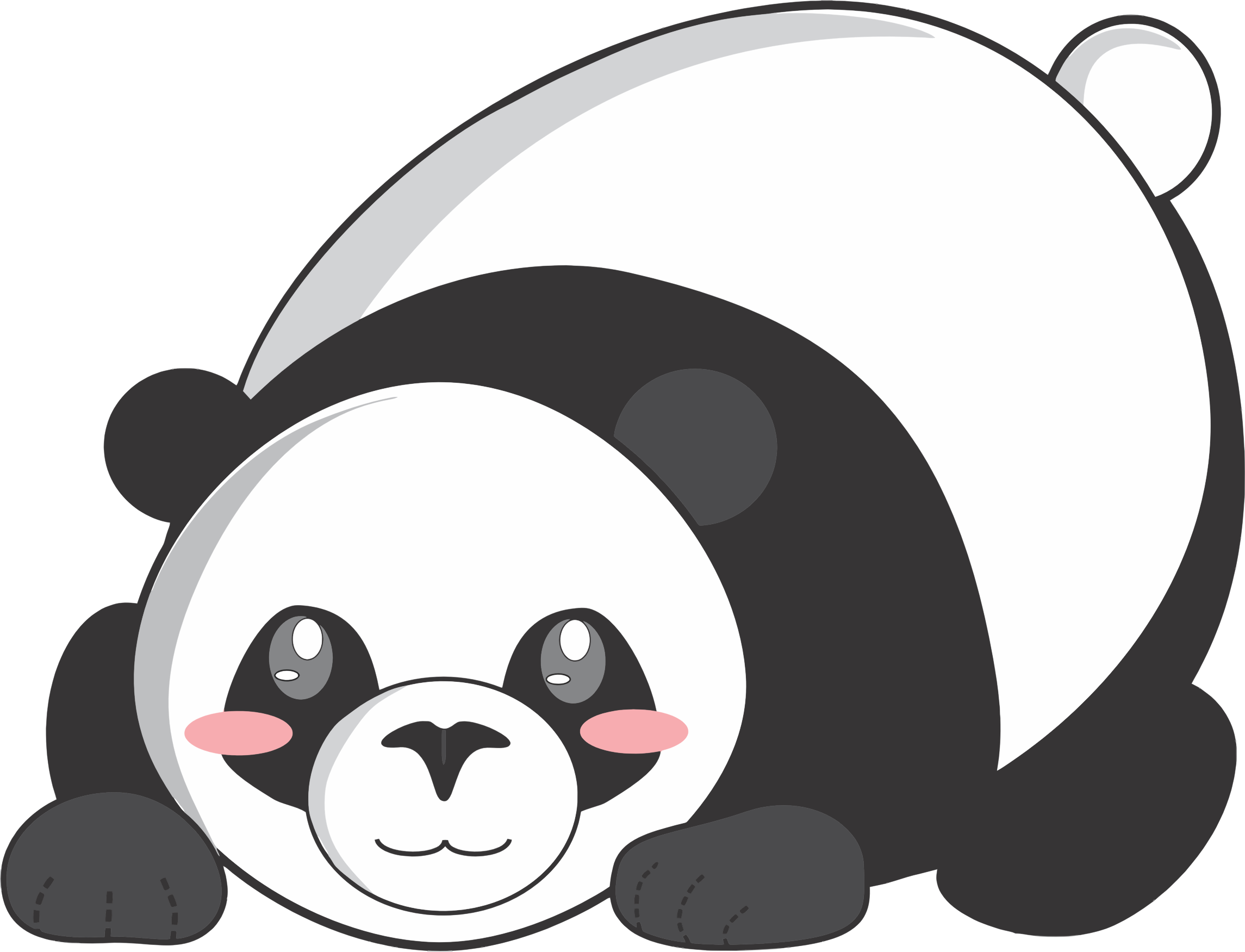 Bashful Cartoon Panda by GDJ