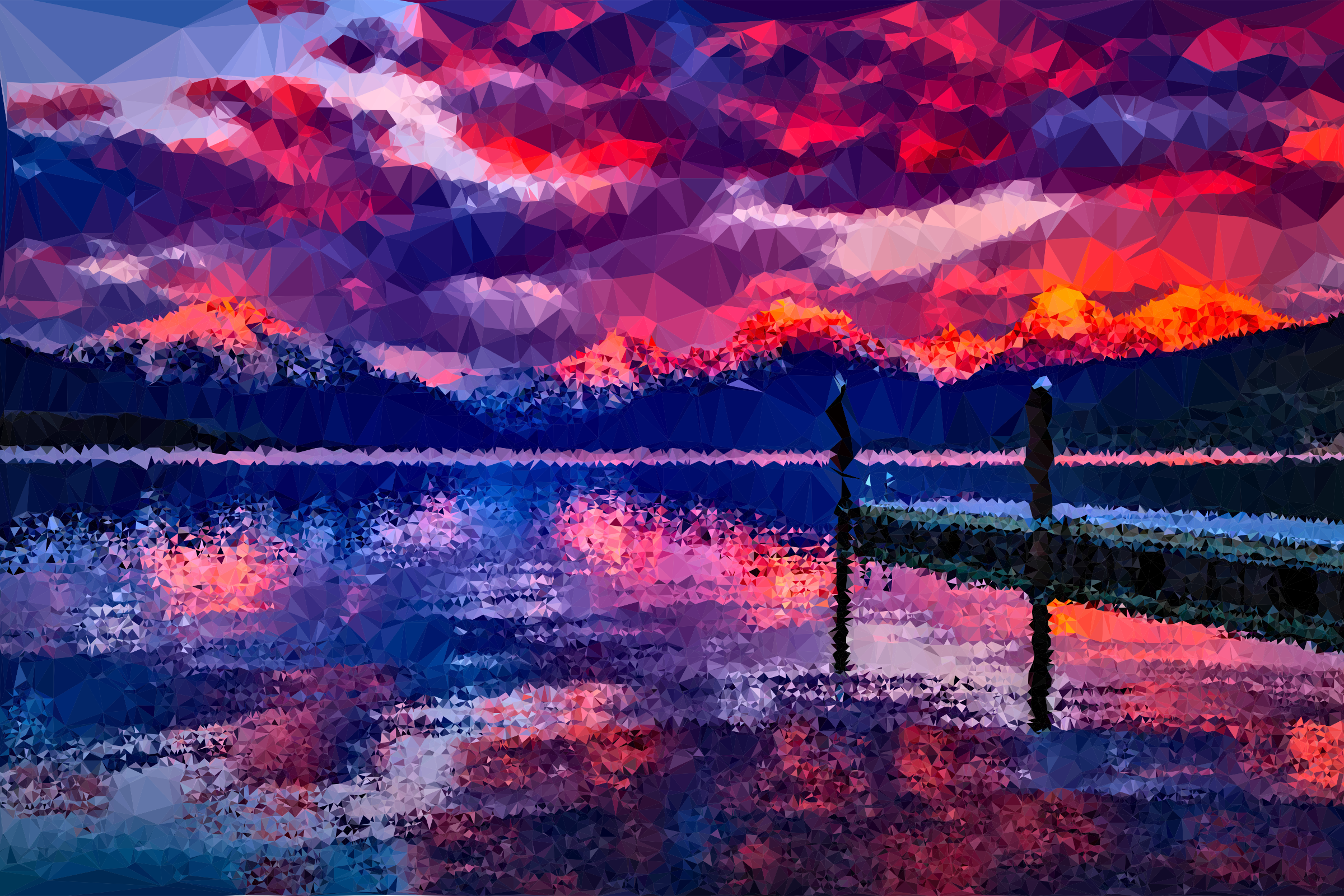 Low Poly Lake McDonald Dusk by GDJ