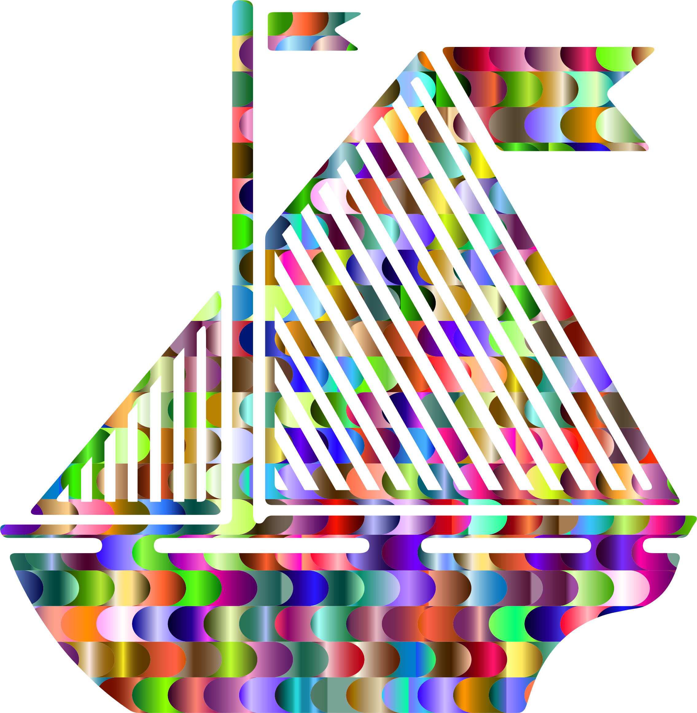Prismatic Interlocking Waves Sail Boat Silhouette by GDJ
