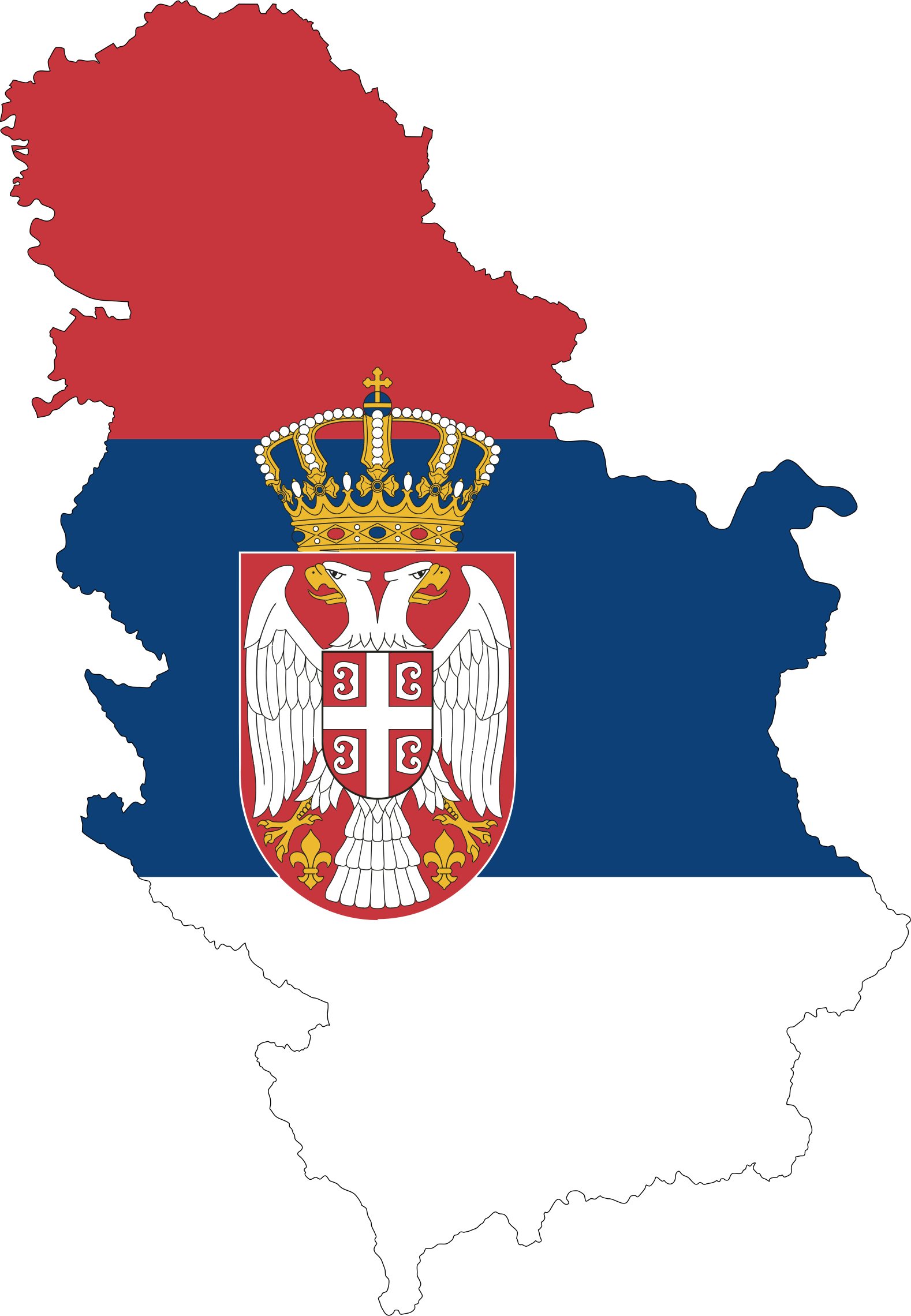 Serbia Map Flag With Stroke Fixed by GDJ
