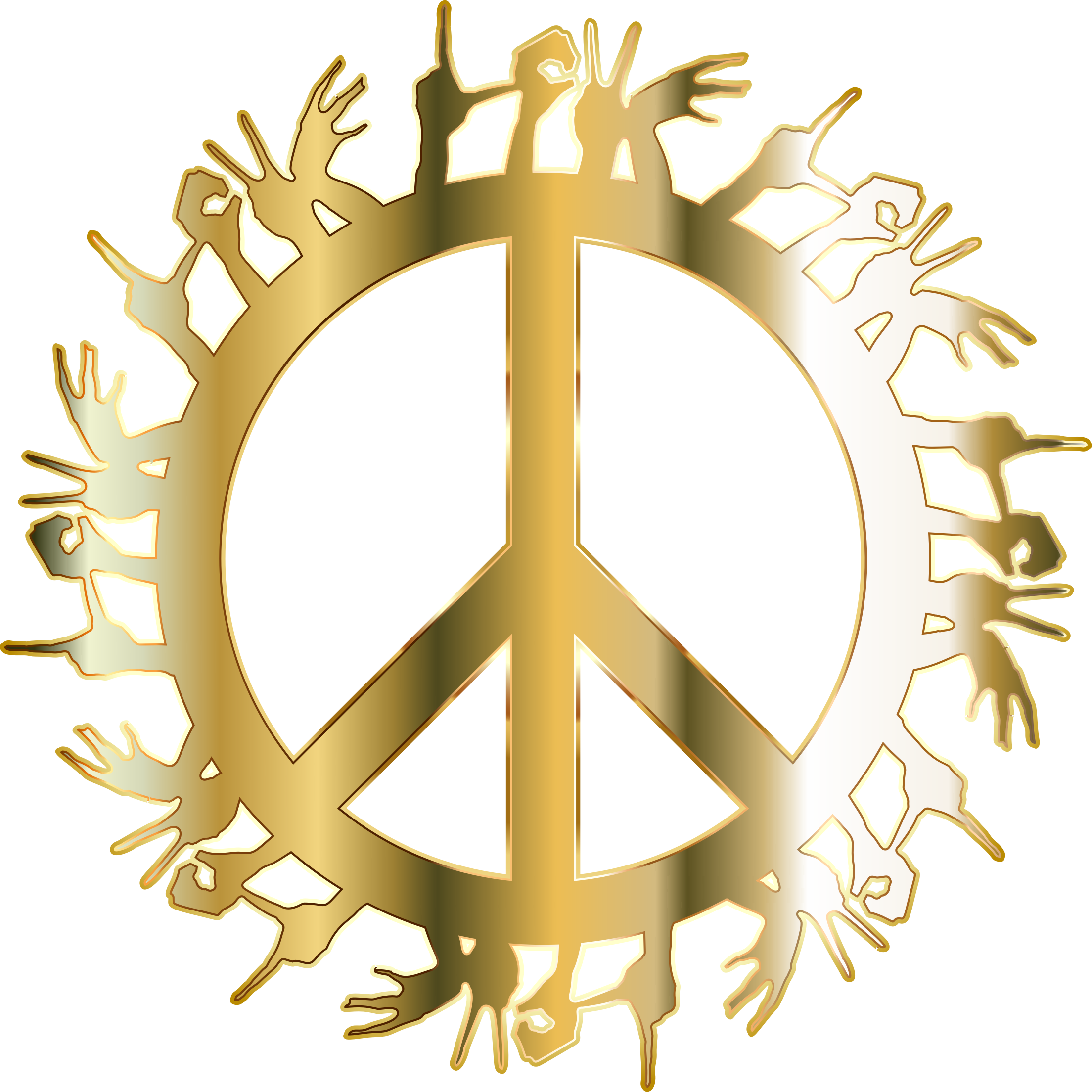 Gold Love Hands Peace No Background by GDJ