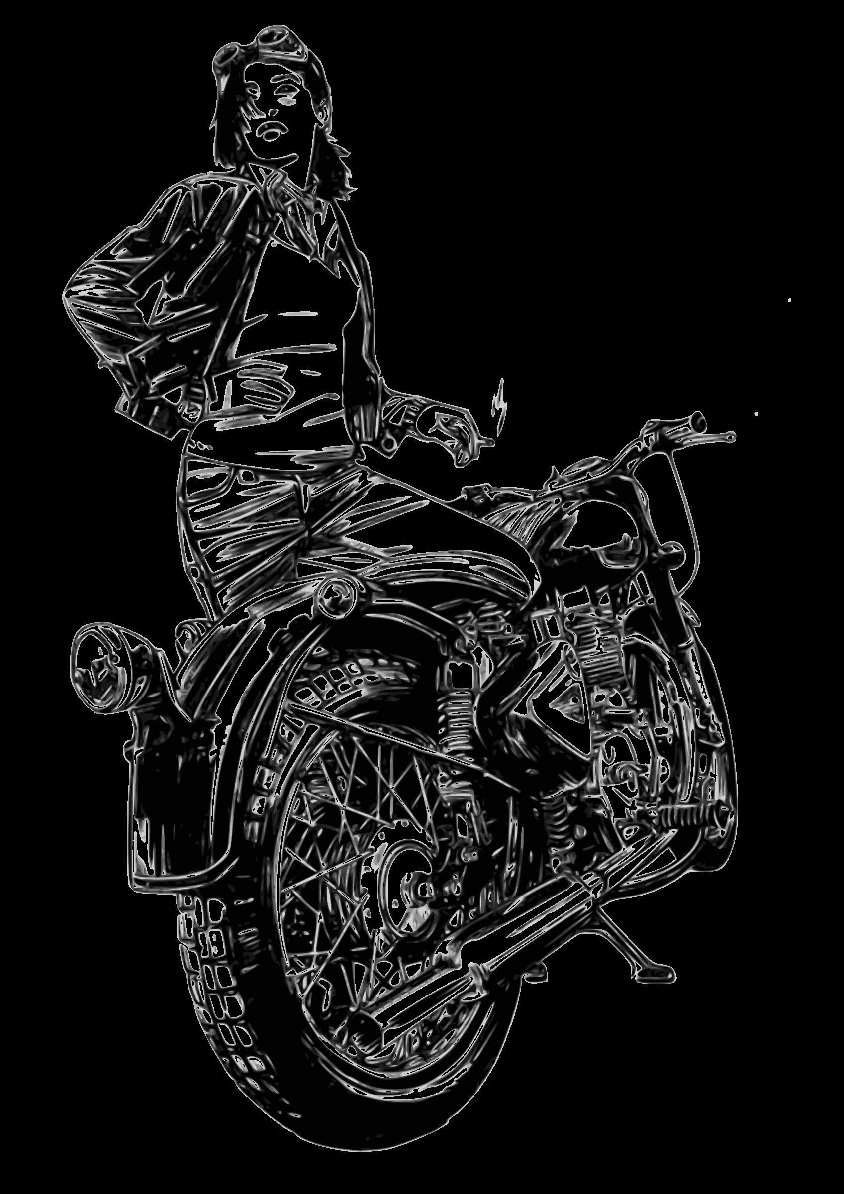 Clipart Motorbike Woman Motorcycle Moto Motocicleta