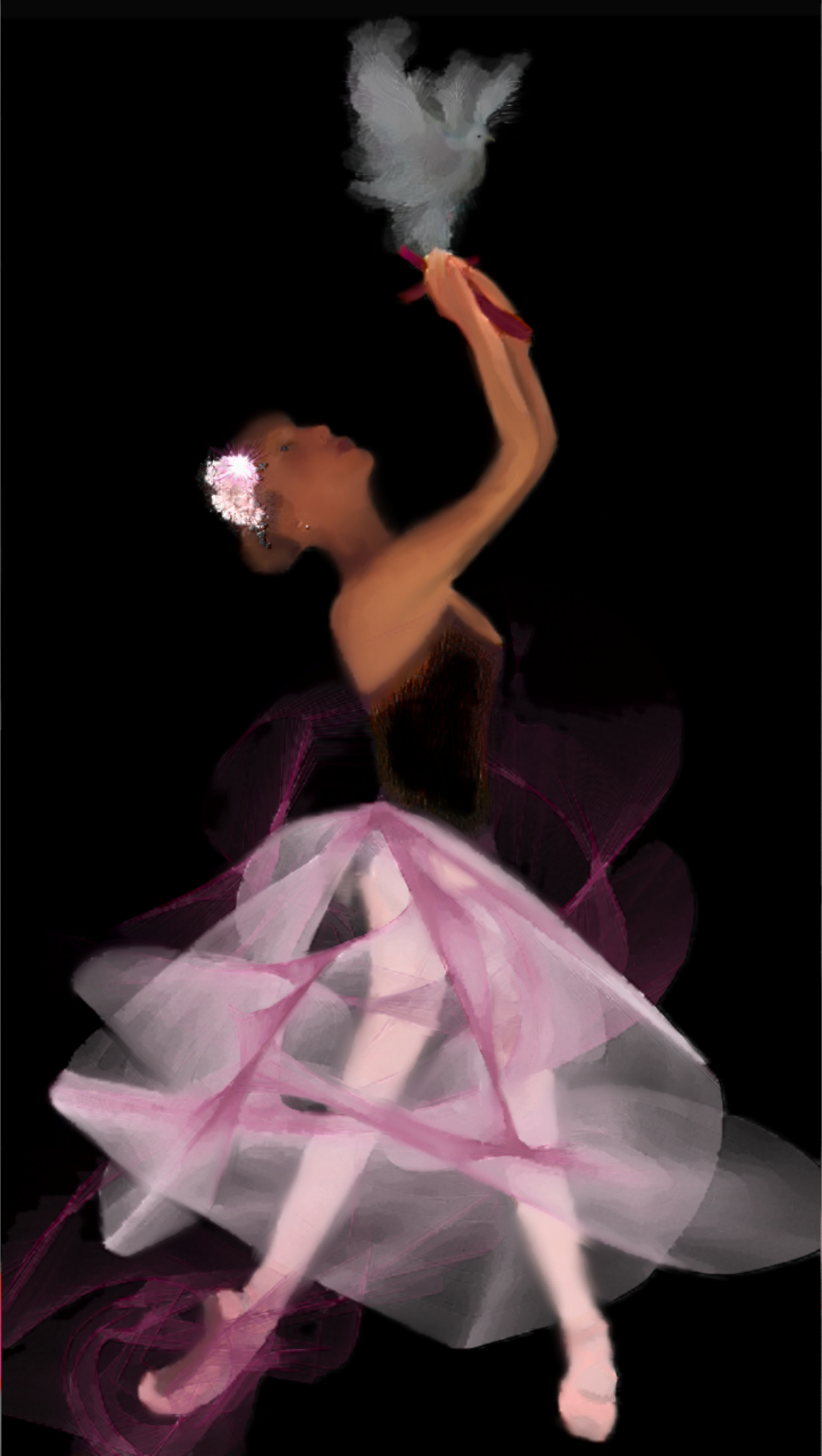 Ballet Pink Painted Oil Pastel Dove Ballerina Suite by Ariel-Arts