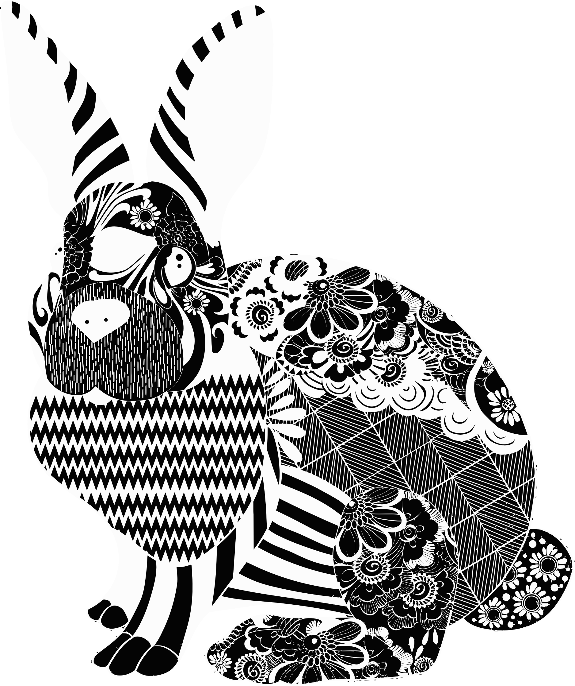 Floral Rabbit Silhouette Variation 2 by GDJ