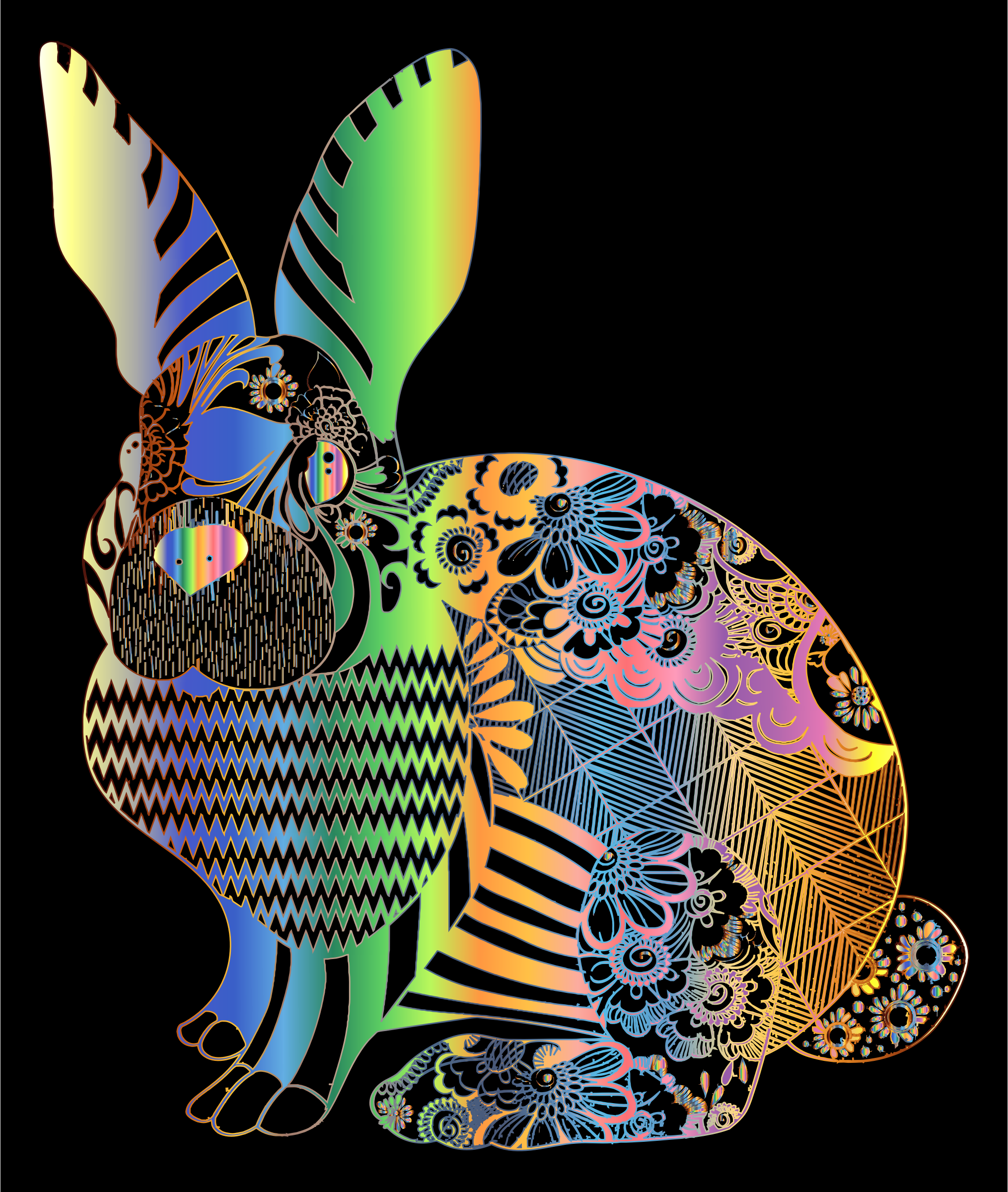 Chromatic Floral Rabbit by GDJ