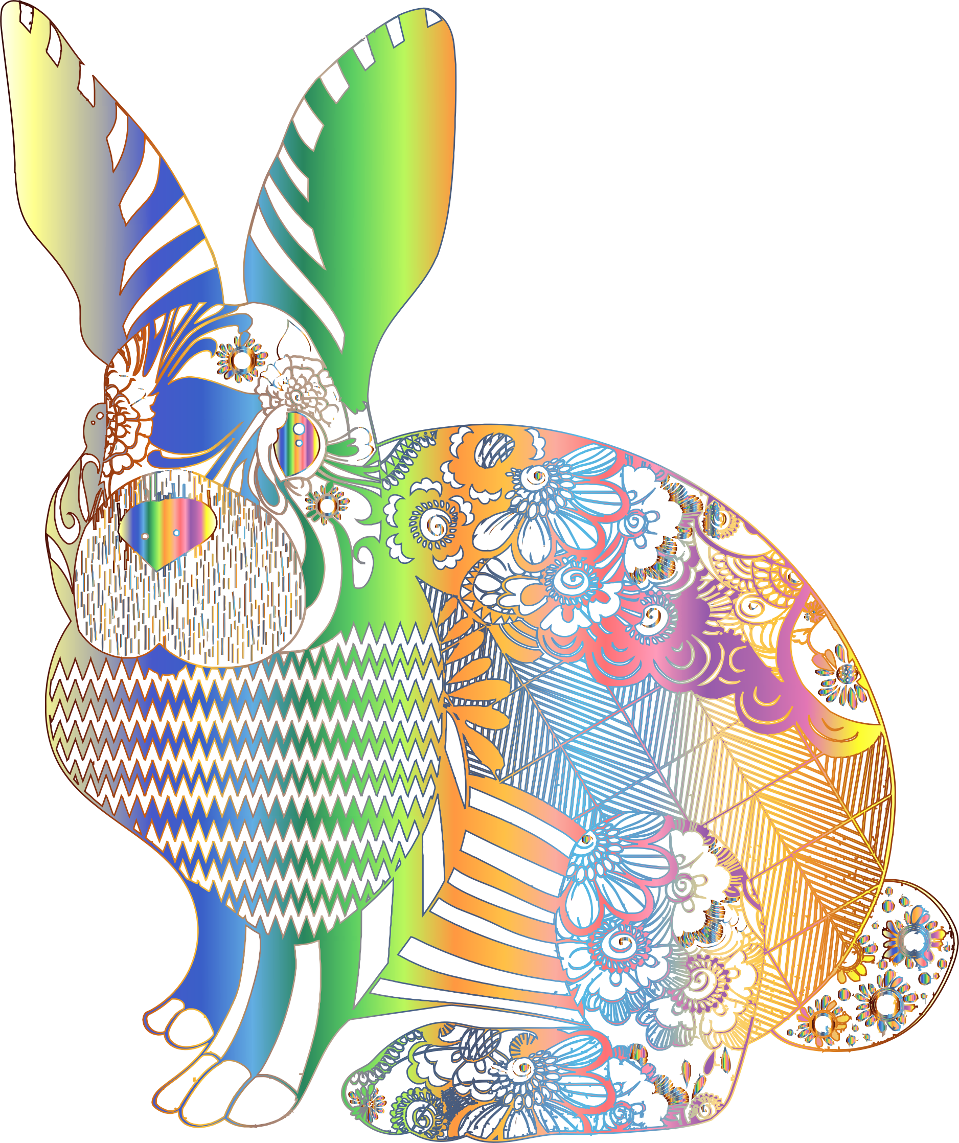 Chromatic Floral Rabbit No Background by GDJ