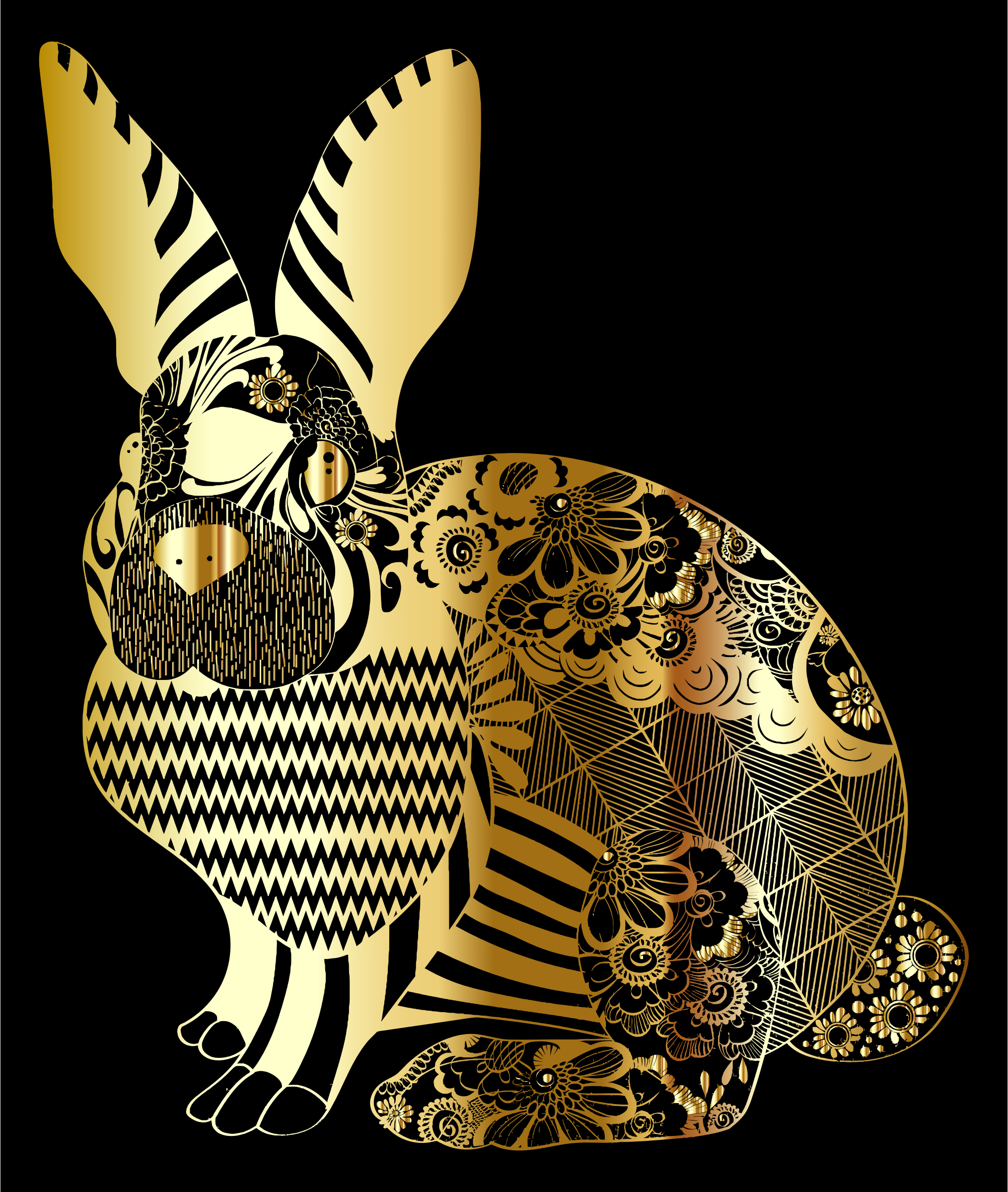 Gold Floral Rabbit by GDJ