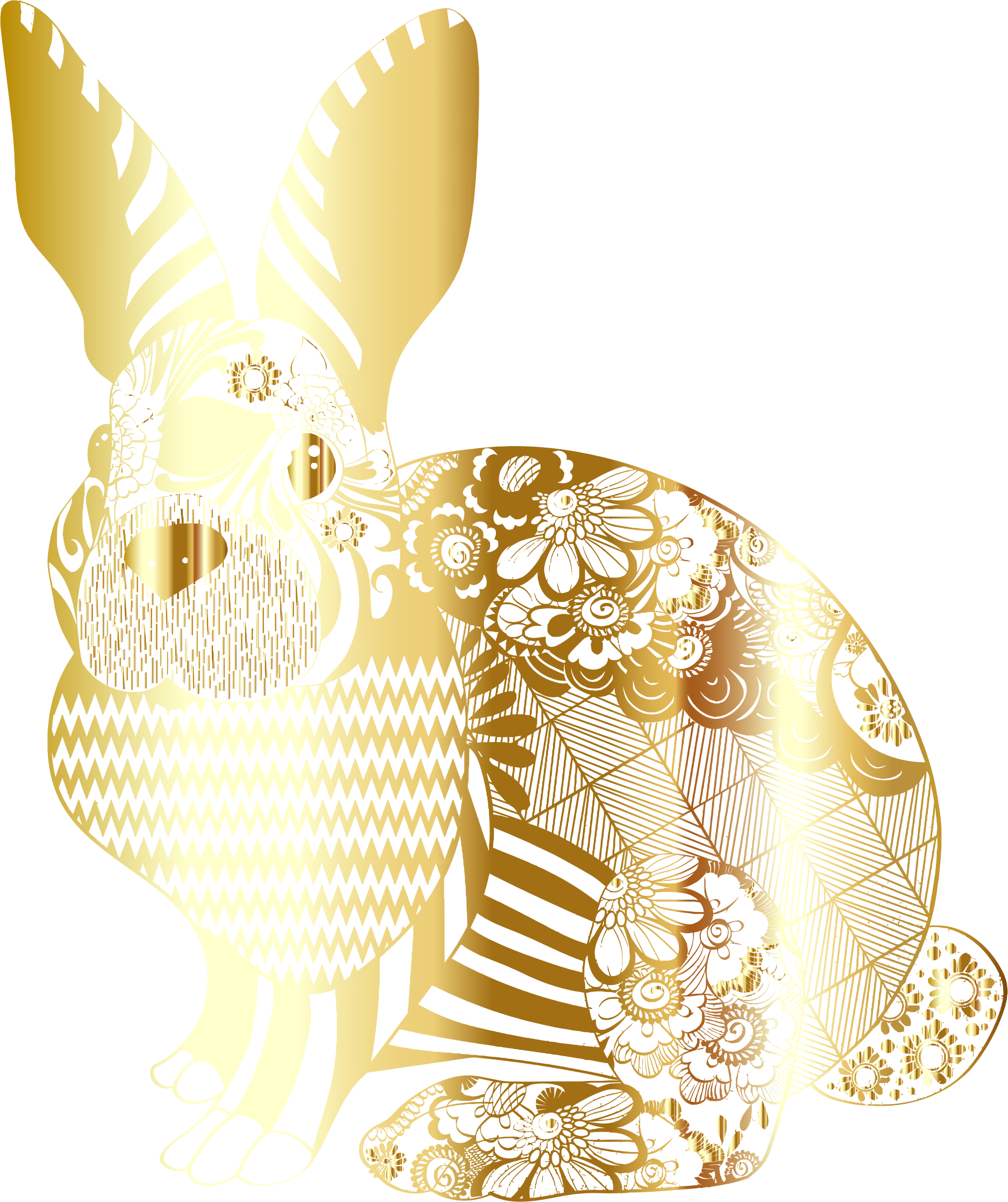 Gold Floral Rabbit No Background by GDJ