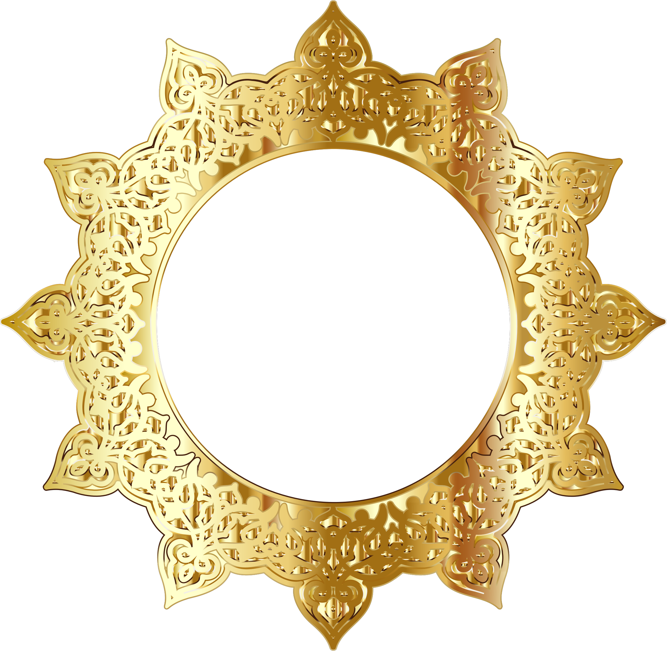 Gold Decorative Ornamental Round Frame by GDJ