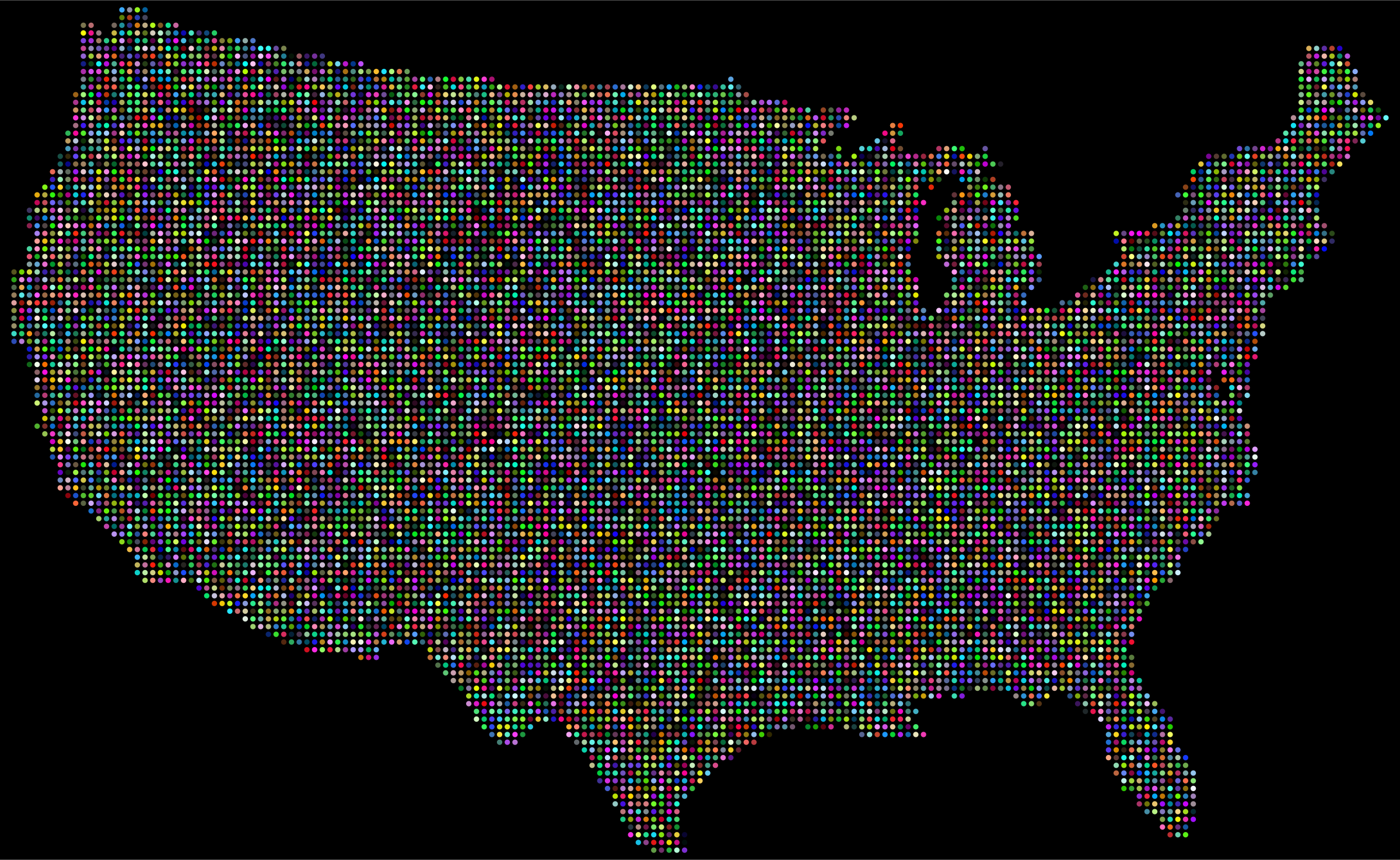 Prismatic United States Map Dots With Background by GDJ