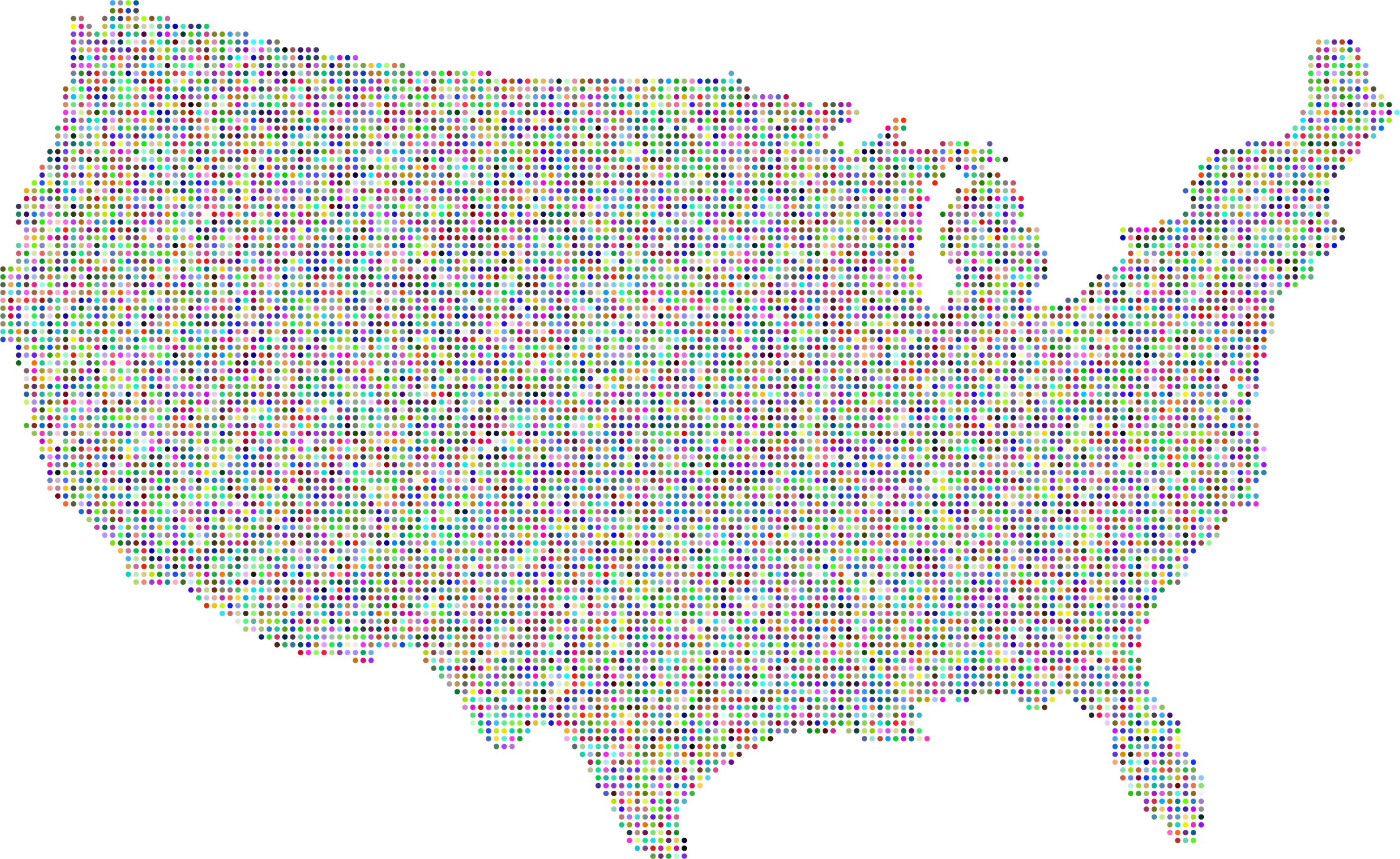 Prismatic United States Map Dots by GDJ