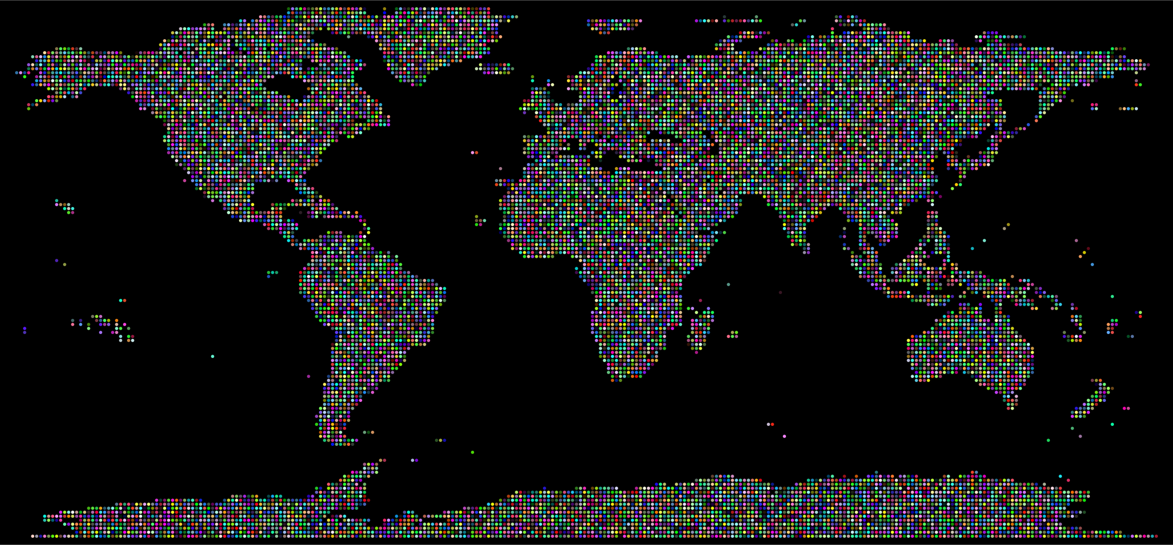 Prismatic World Map Dots With Background by GDJ