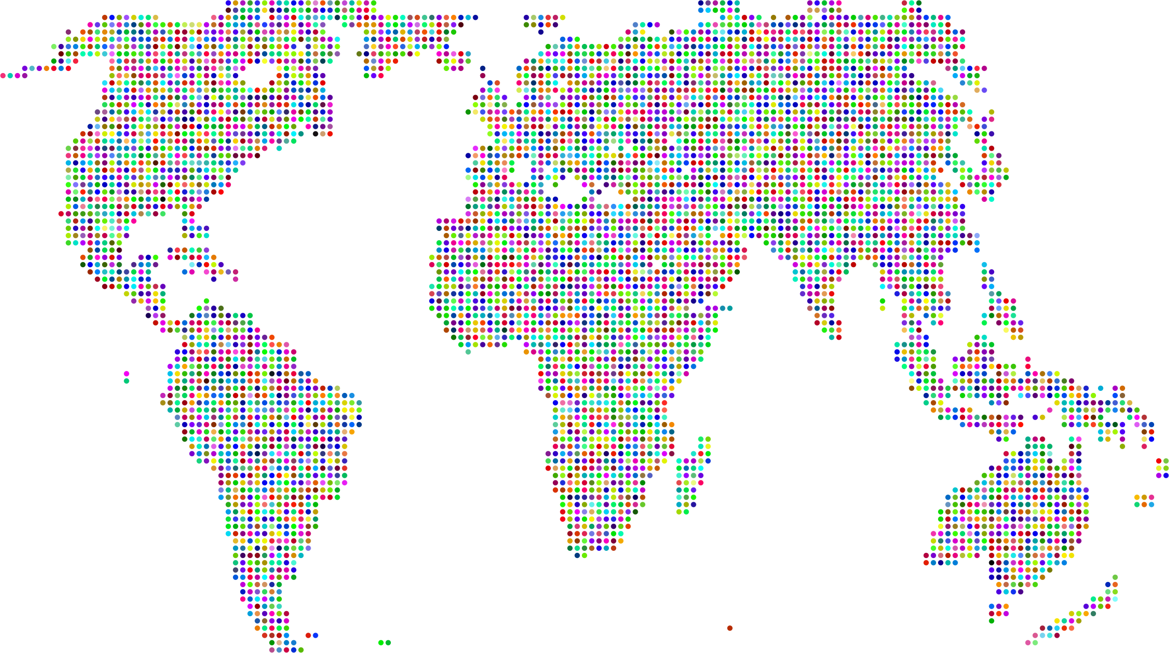 Prismatic World Map Dots 2 by GDJ