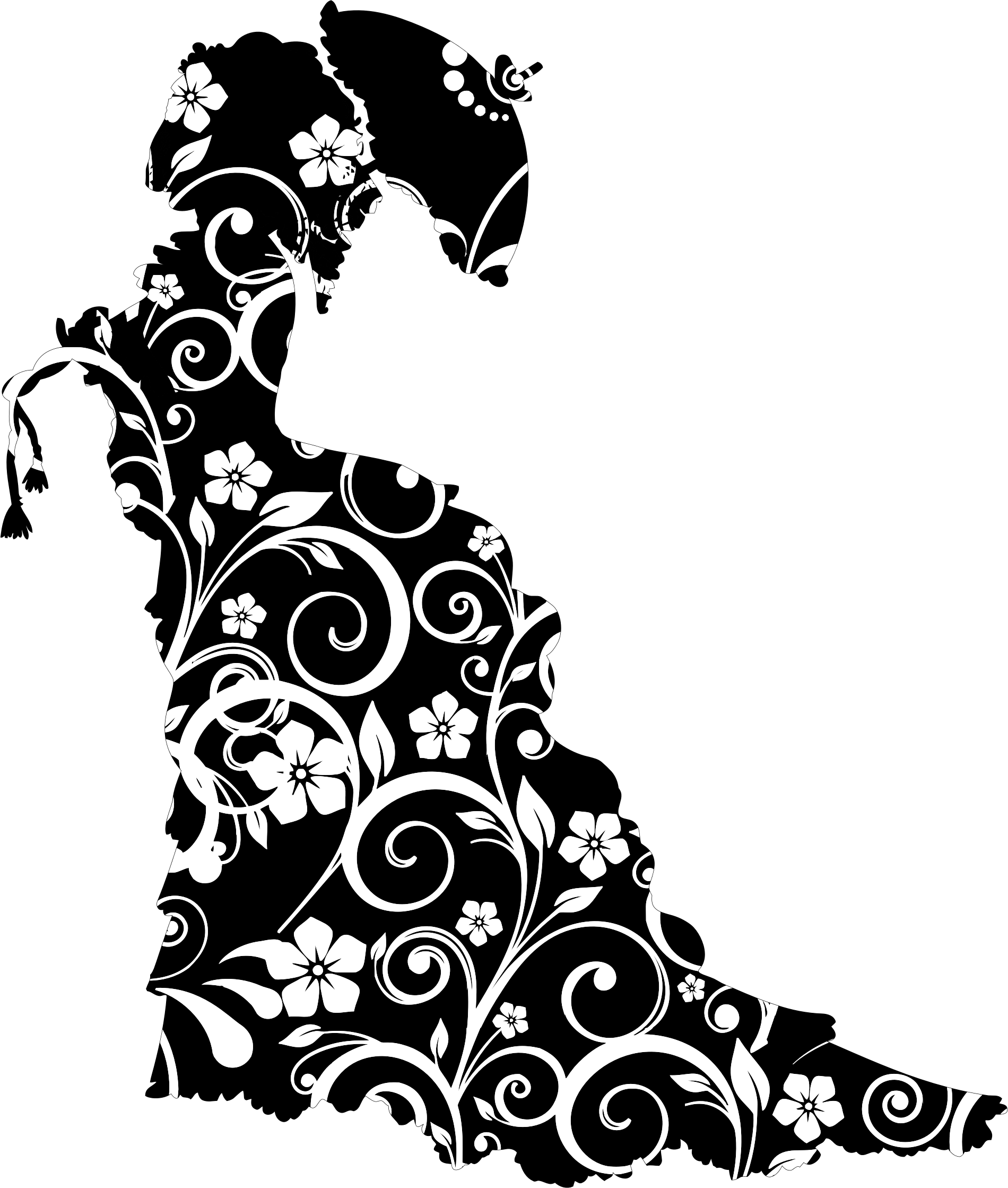 Floral Vintage Victorian Lady Silhouette by GDJ
