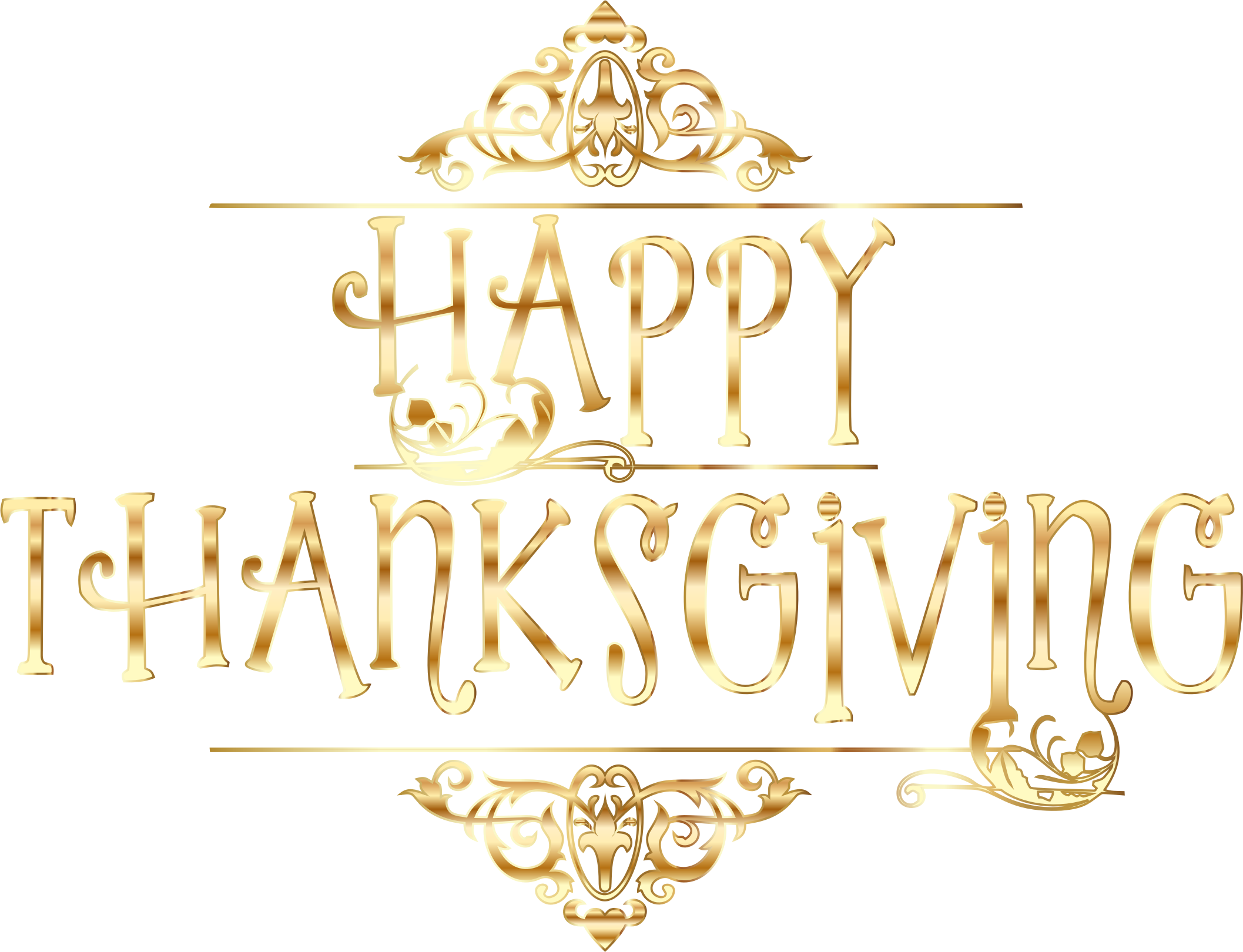 Gold Happy Thanksgiving Typography No Background by GDJ