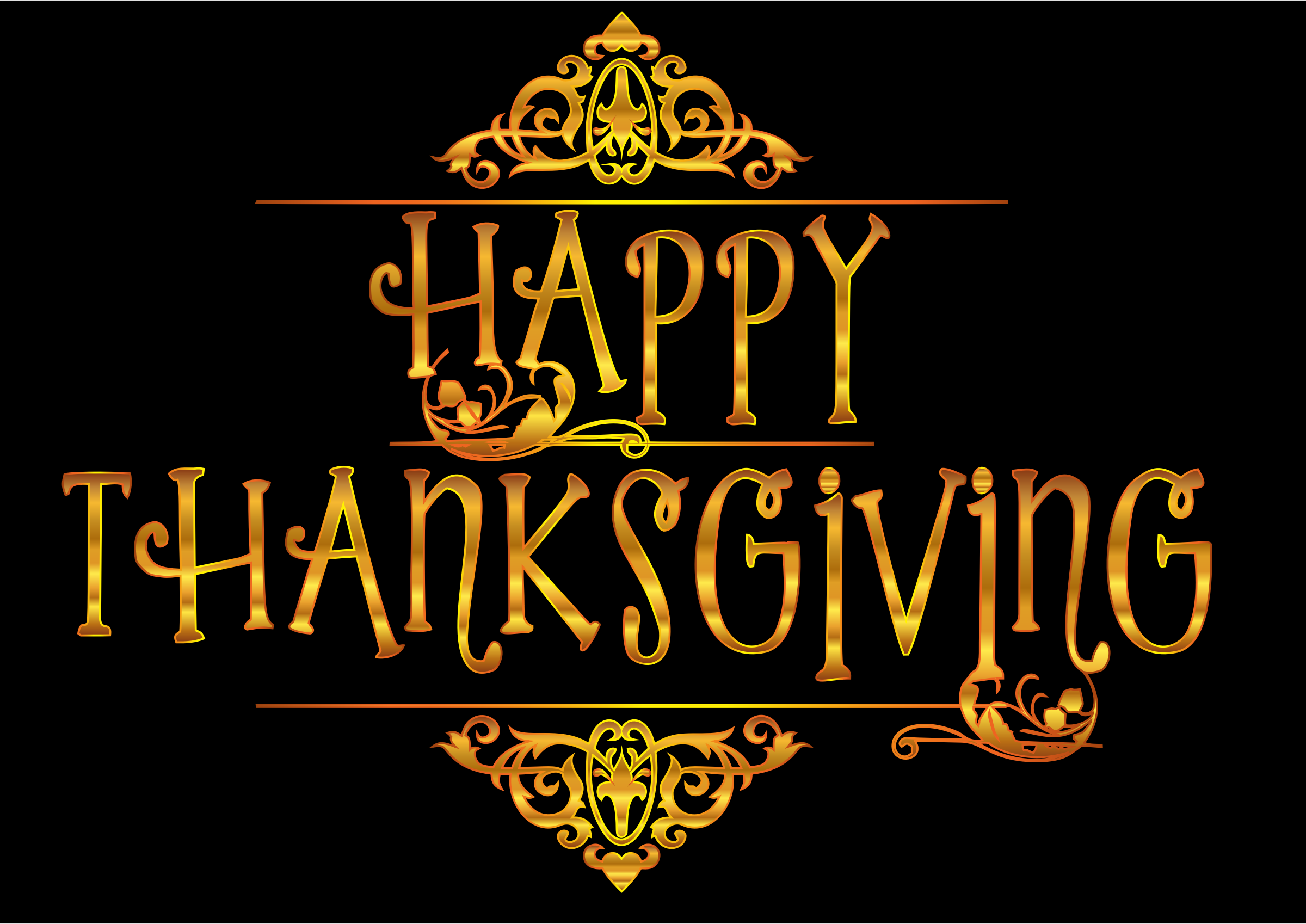 Gold Happy Thanksgiving Typography Variation 2 by GDJ