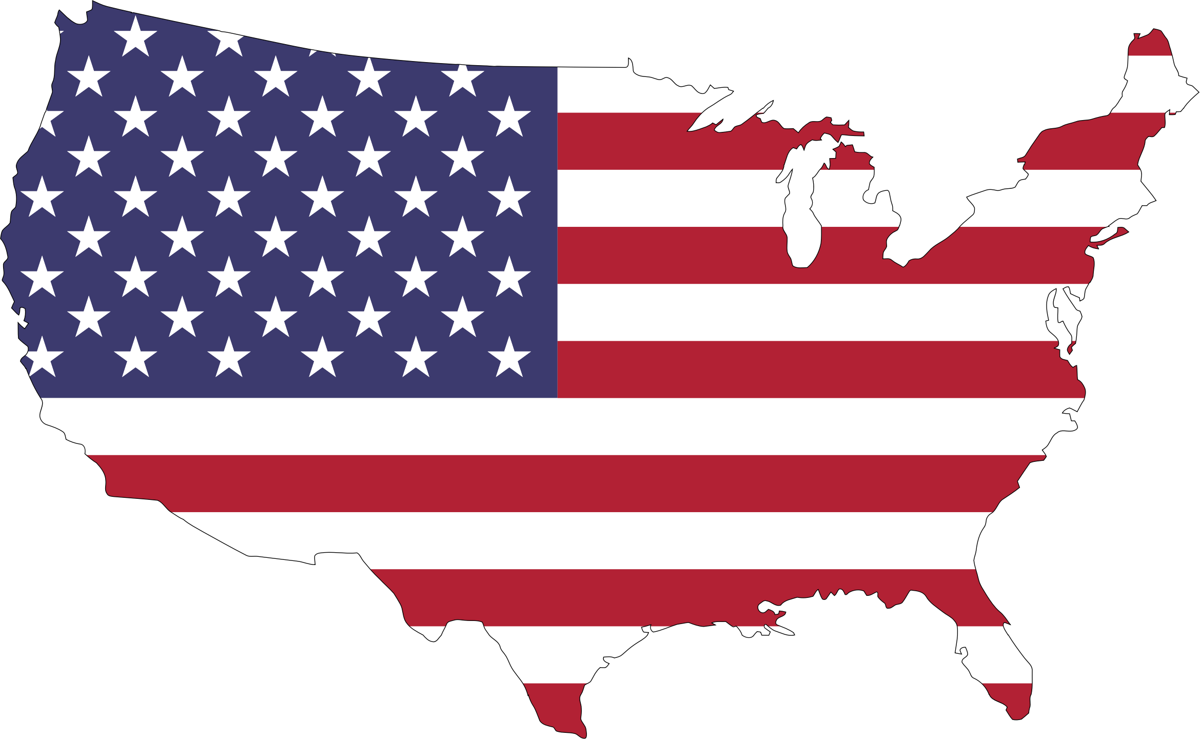 America Flag Map With Stroke by GDJ