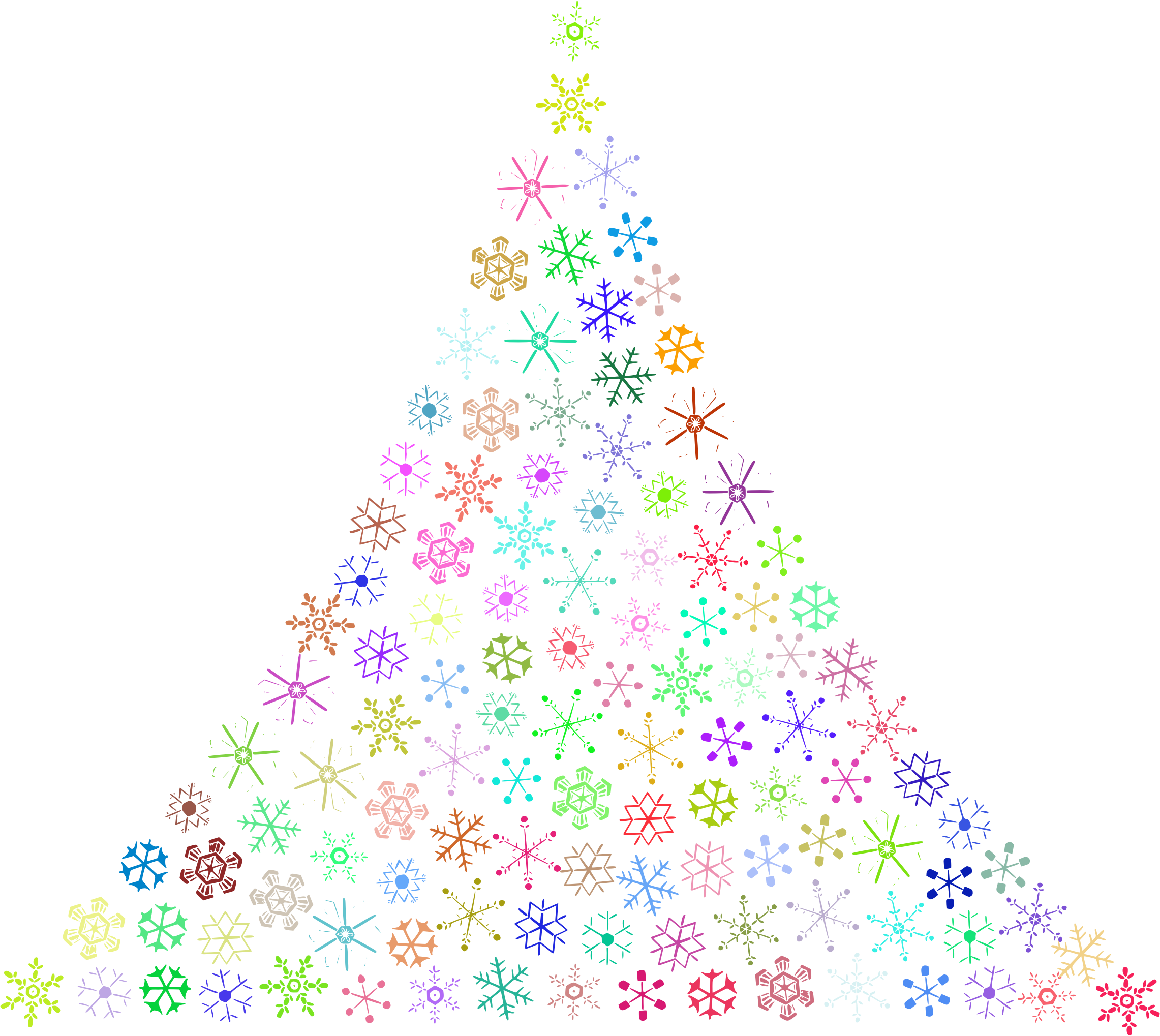 Prismatic Snowflake Christmas Tree No Background by GDJ