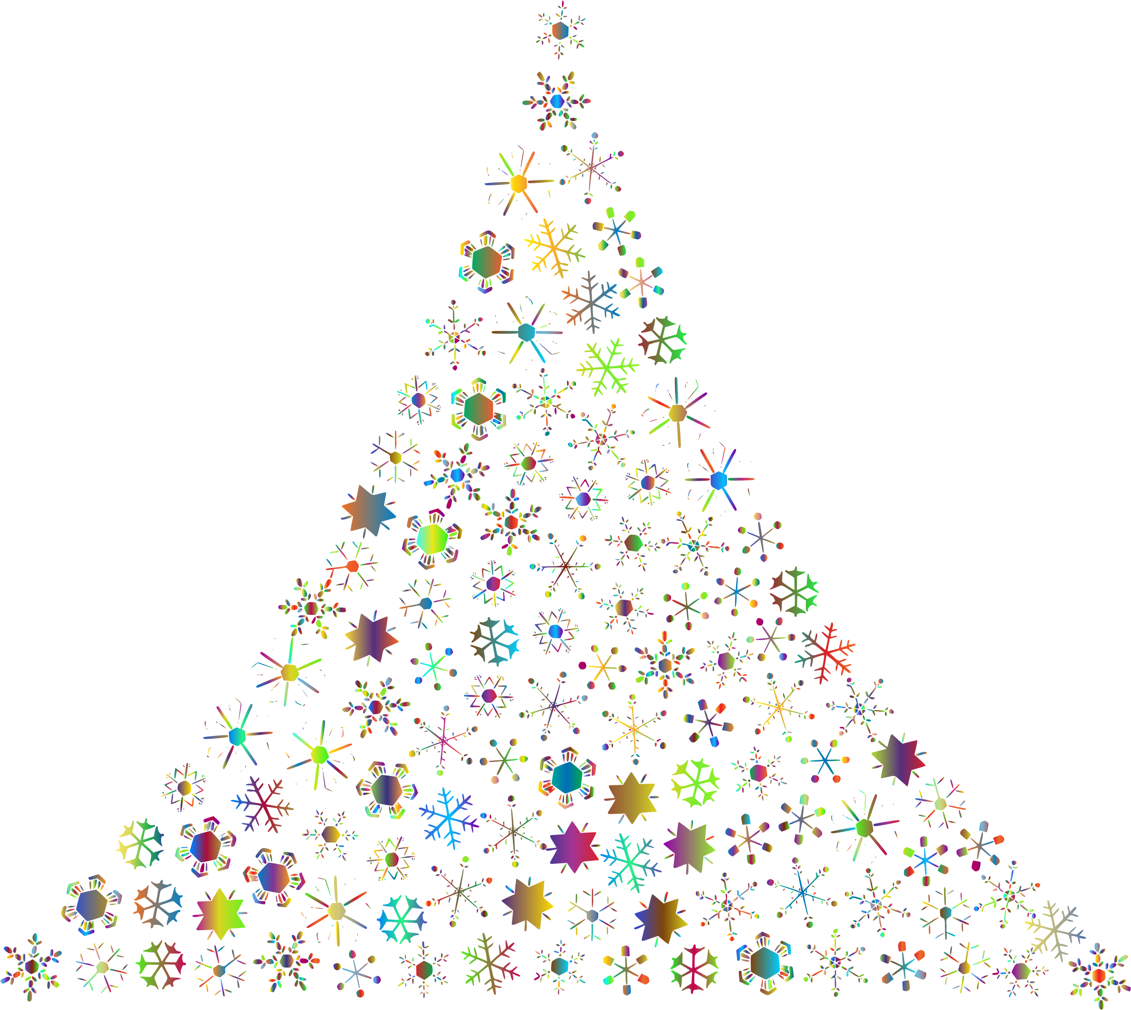 Clipart - Prismatic Snowflake Christmas Tree 2 No Background
