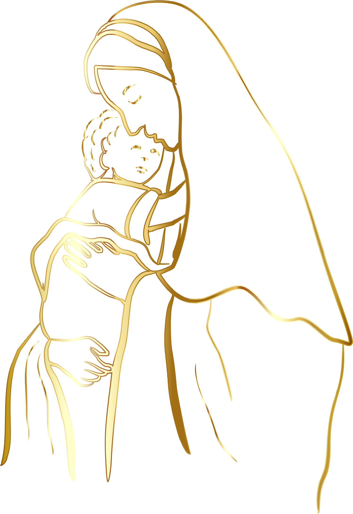 Gold Virgin Mary And Baby Jesus No Background by GDJ
