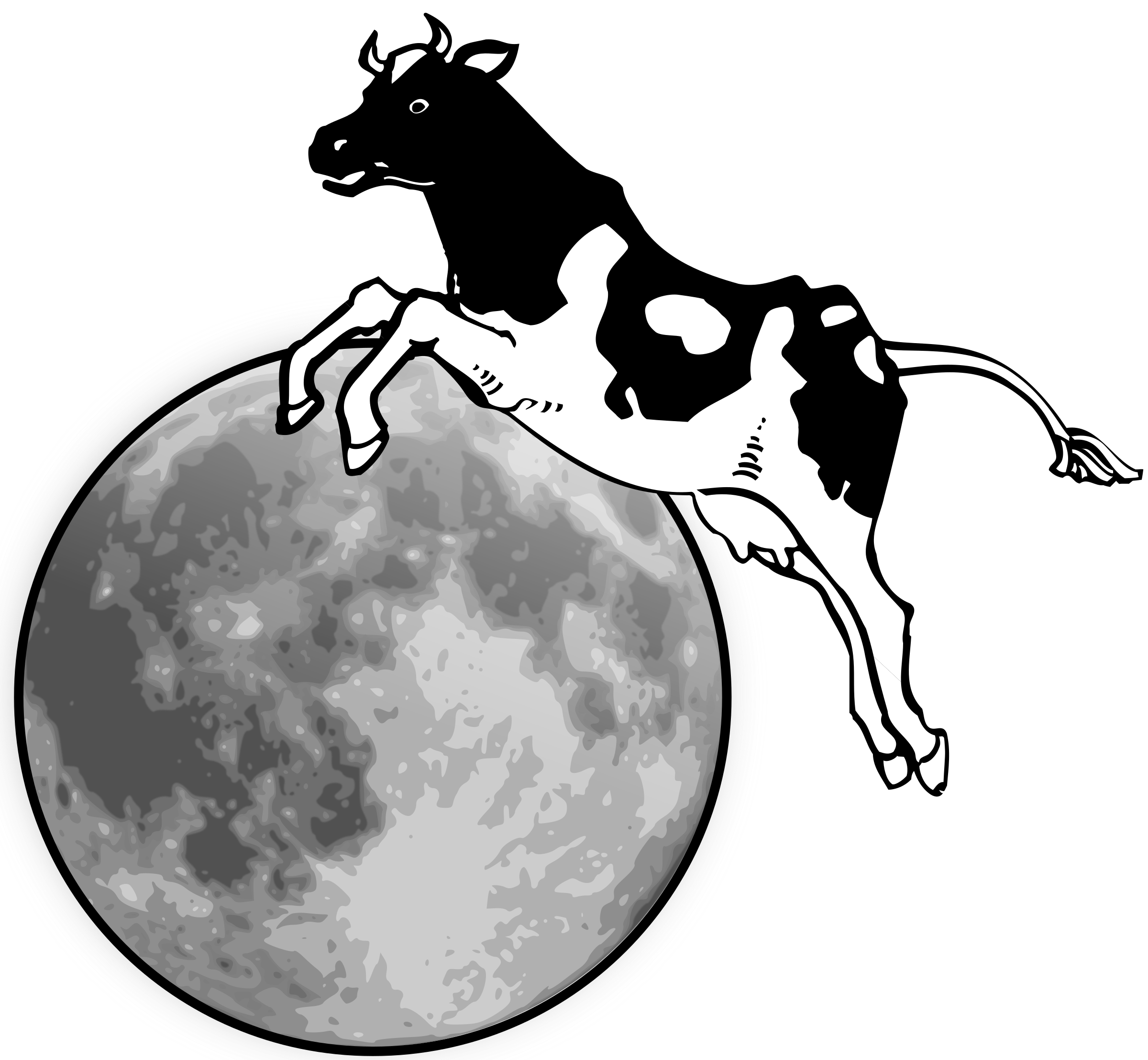 The cow jumps over the moon by Manuela.