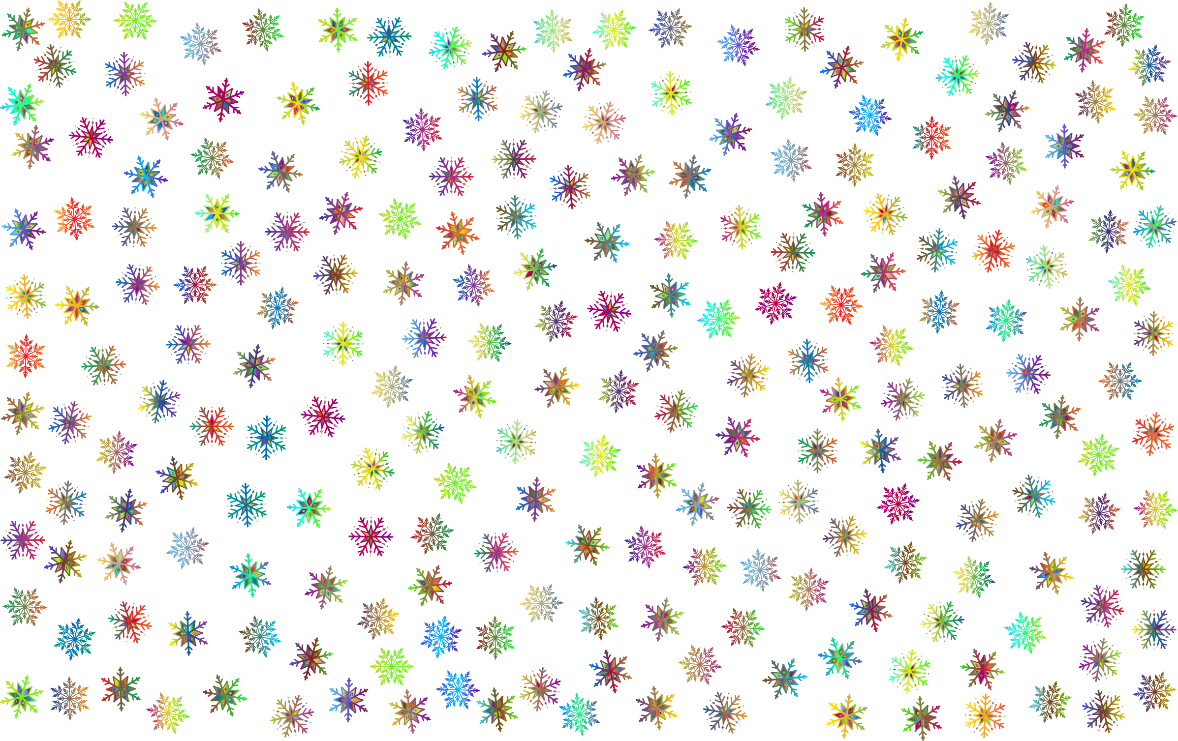 Clipart prismatic snowflakes pattern 3 no background