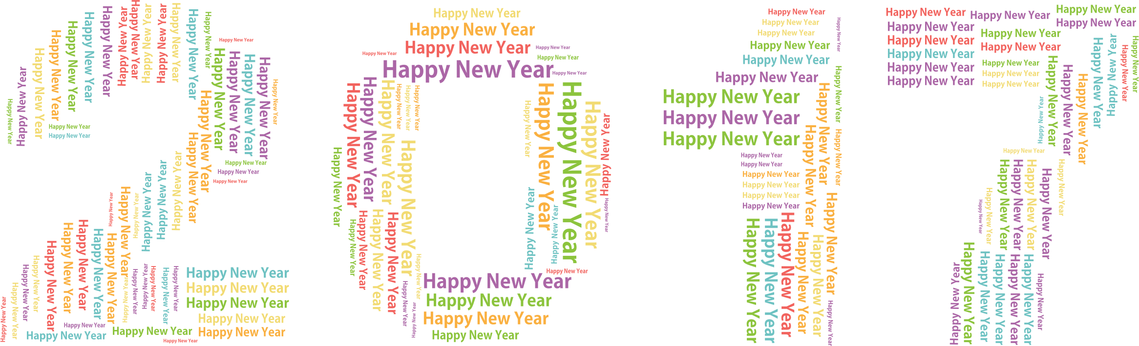 Clipart - Happy New Year 2017 Word Cloud No Background